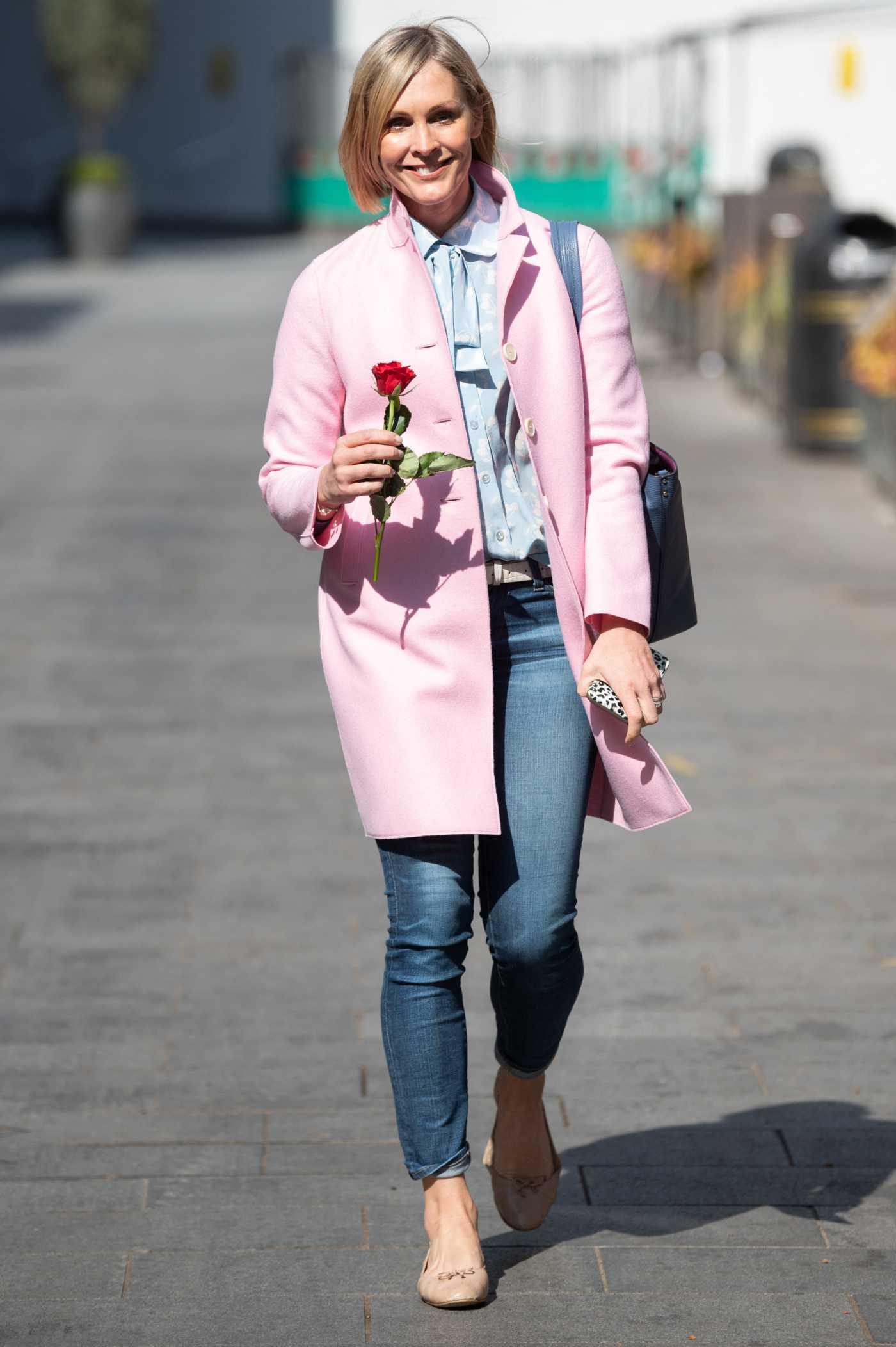 Jenni Falconer in a Pink Coat Leaves the Global Studios in London 04/30/2021