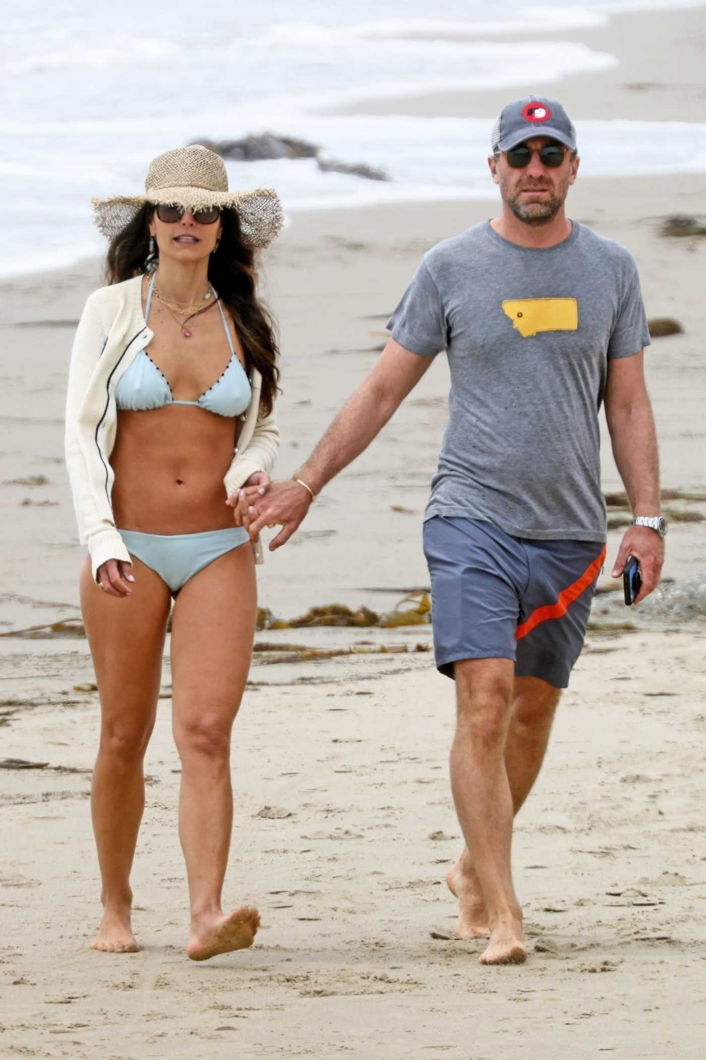 Jordana Brewster in a Blue Bikini Was Seen Out with Mason Morfit on the Beach in Santa Monica 05/02/2021