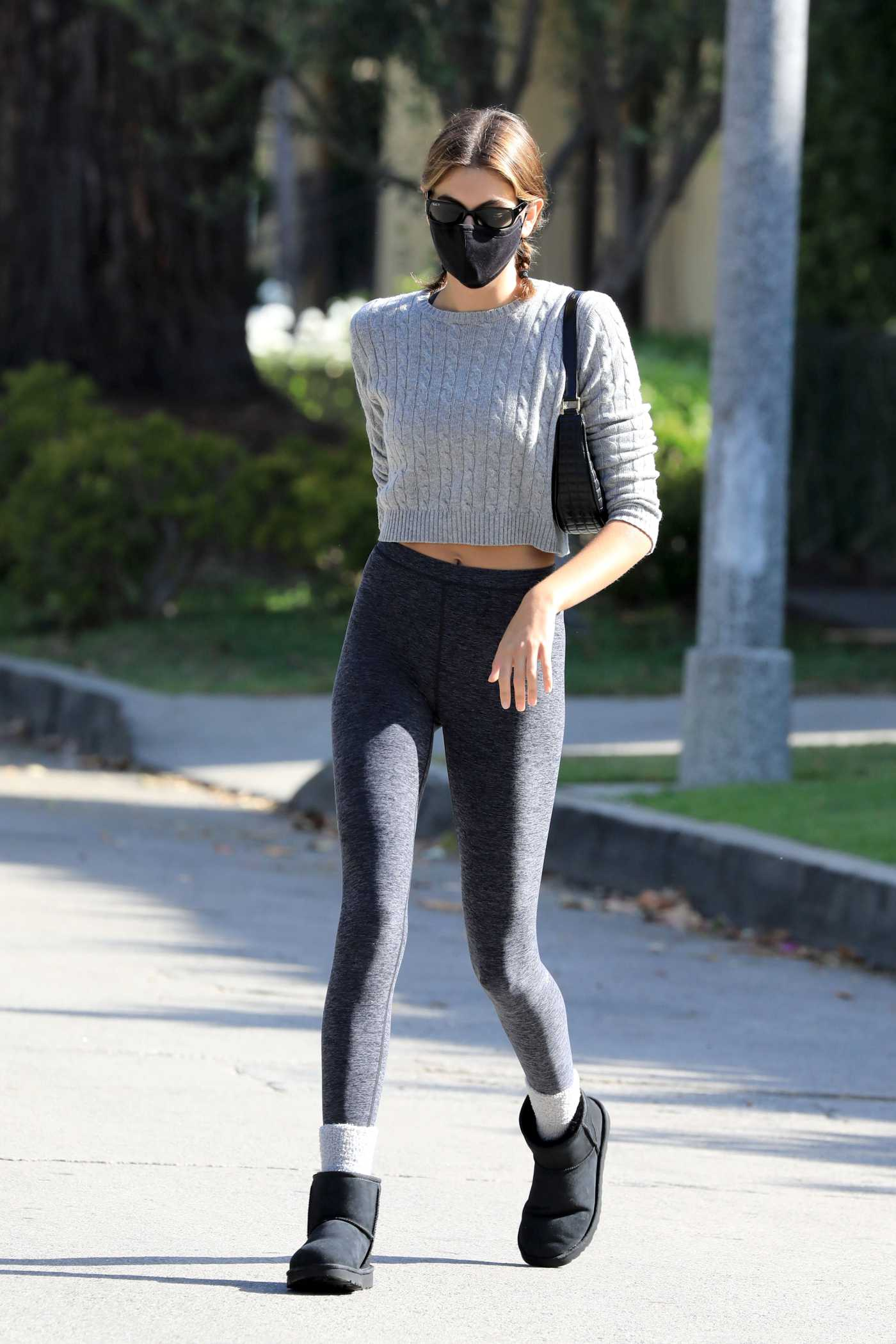 Kaia Gerber in a Black Leggings Leaves Her Daily Exercise in West Hollywood 05/04/2021