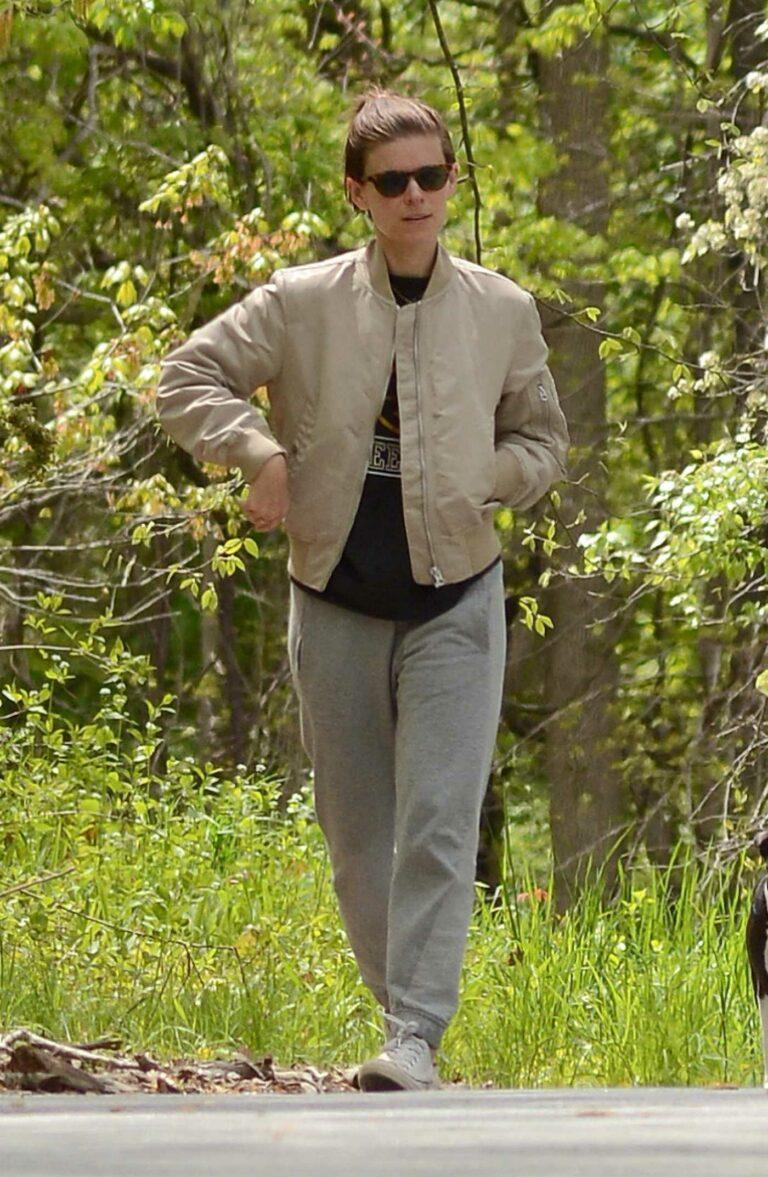 Kate Mara in a Beige Jacket