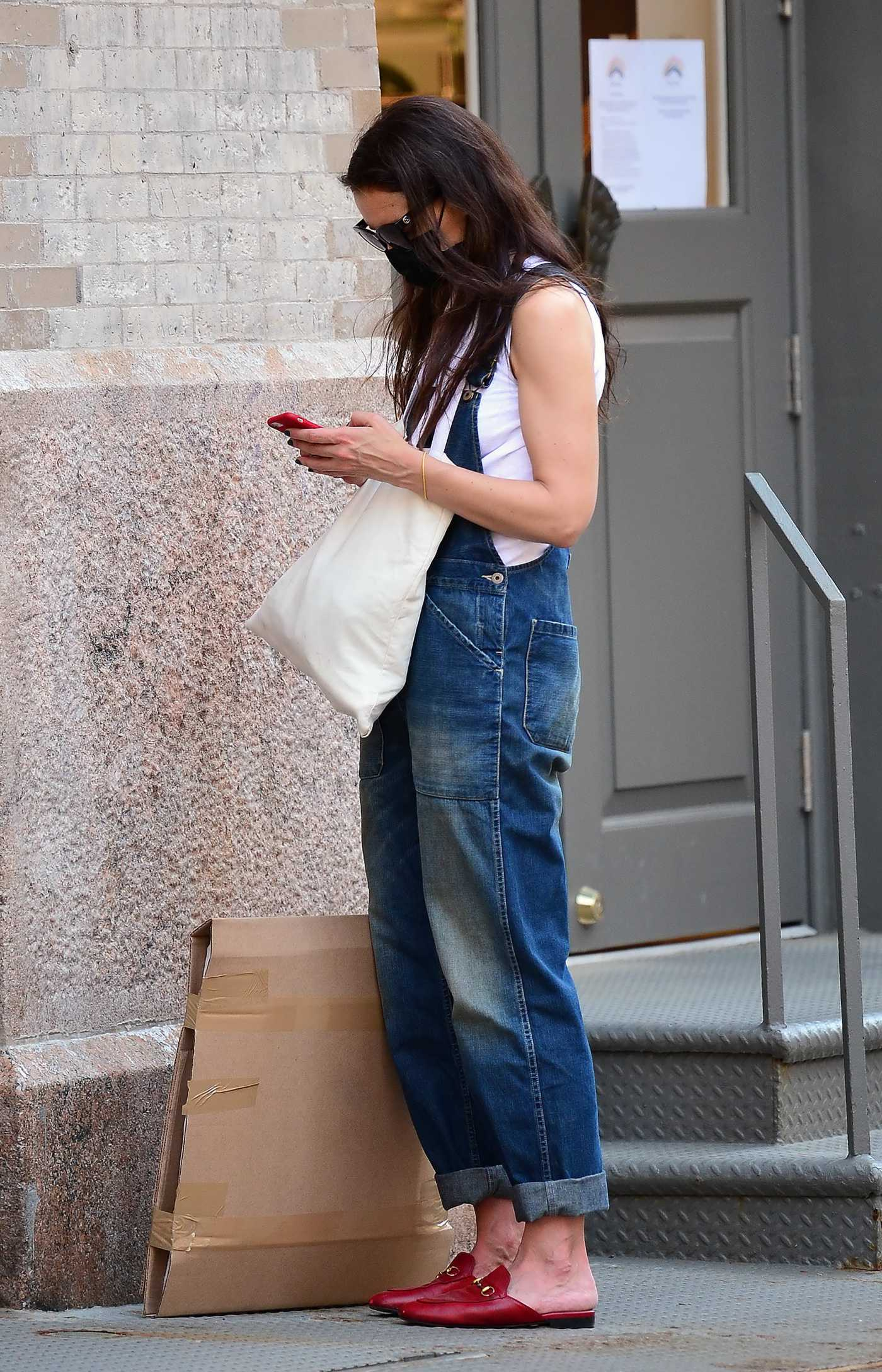 Katie Holmes in a Denim Jumpsuit Visits Various Art Supply Stores in New York City 05/27/2021