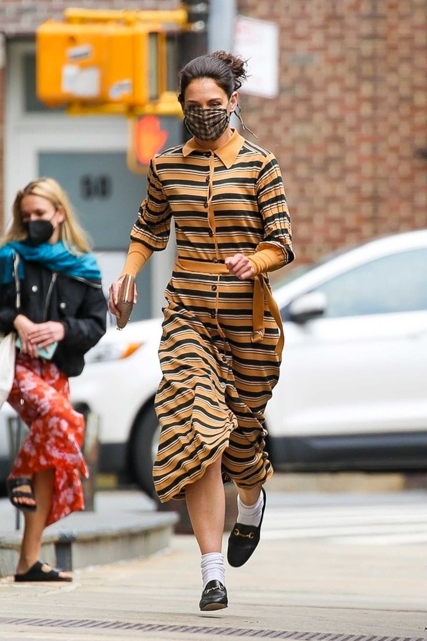 Katie Holmes in a Striped Dress Was Seen Out in Tribeca, New York 05/03/2021