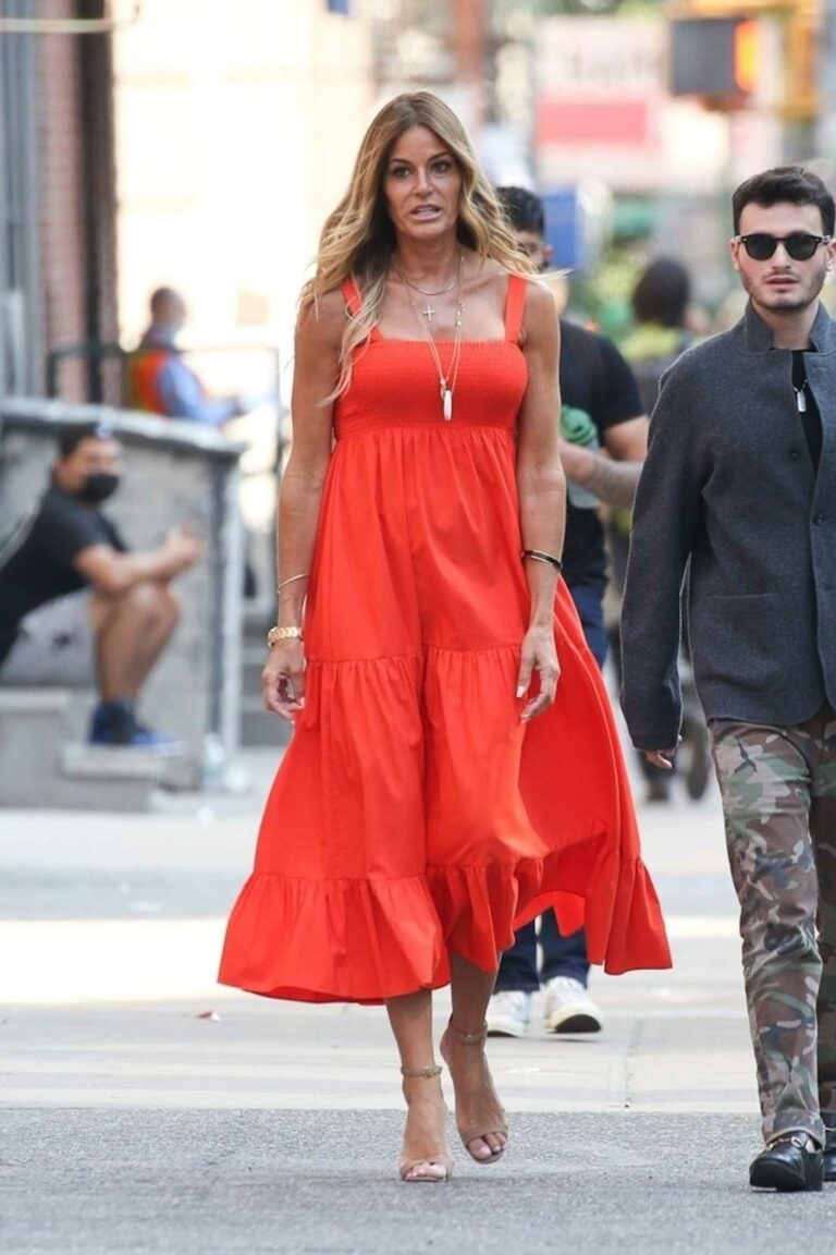 Kelly Bensimon in a Red Dress