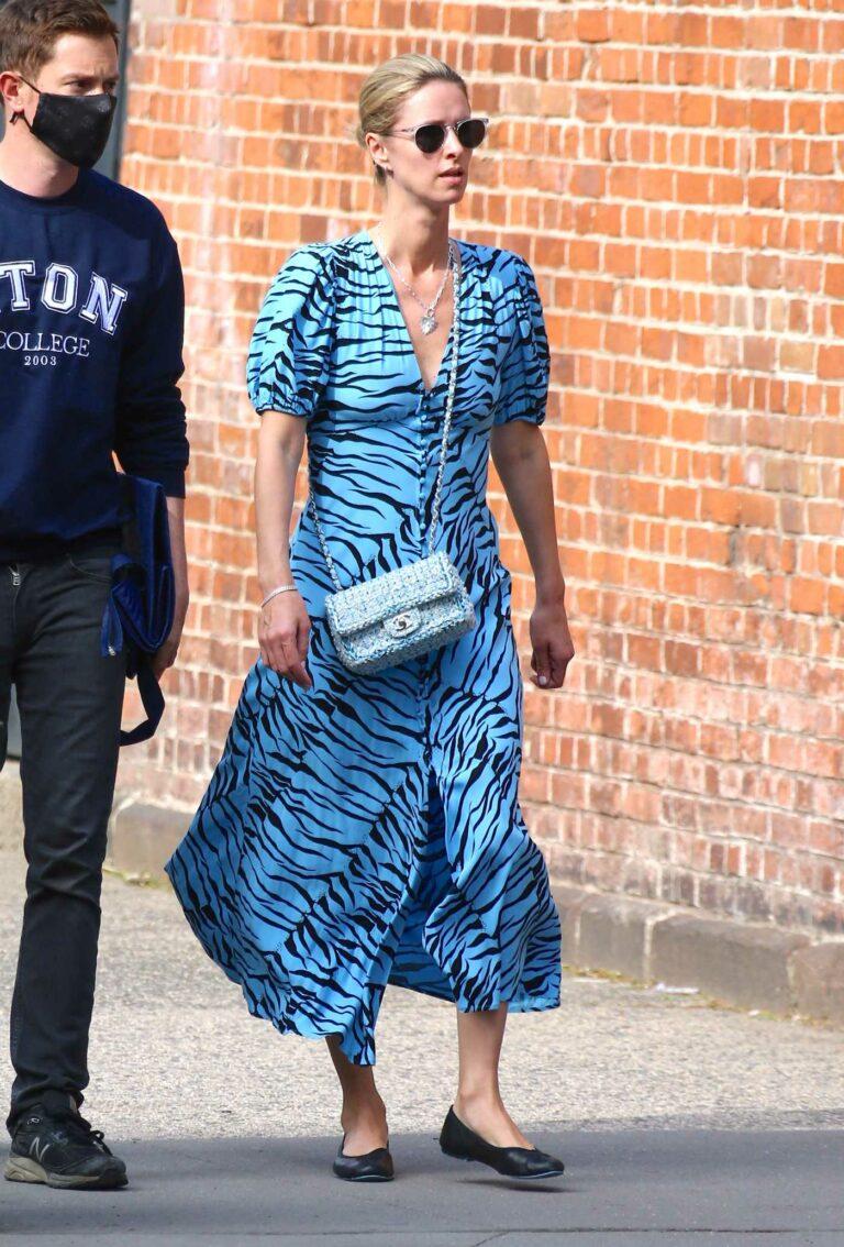 Nicky Hilton in a Blue Animal Print Dress