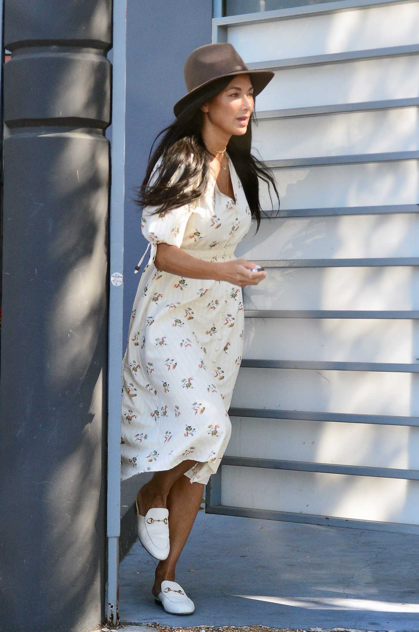 Nicole Scherzinger in a White Summer Floral Dress Was Seen Out in Los Angeles 04/29/2021