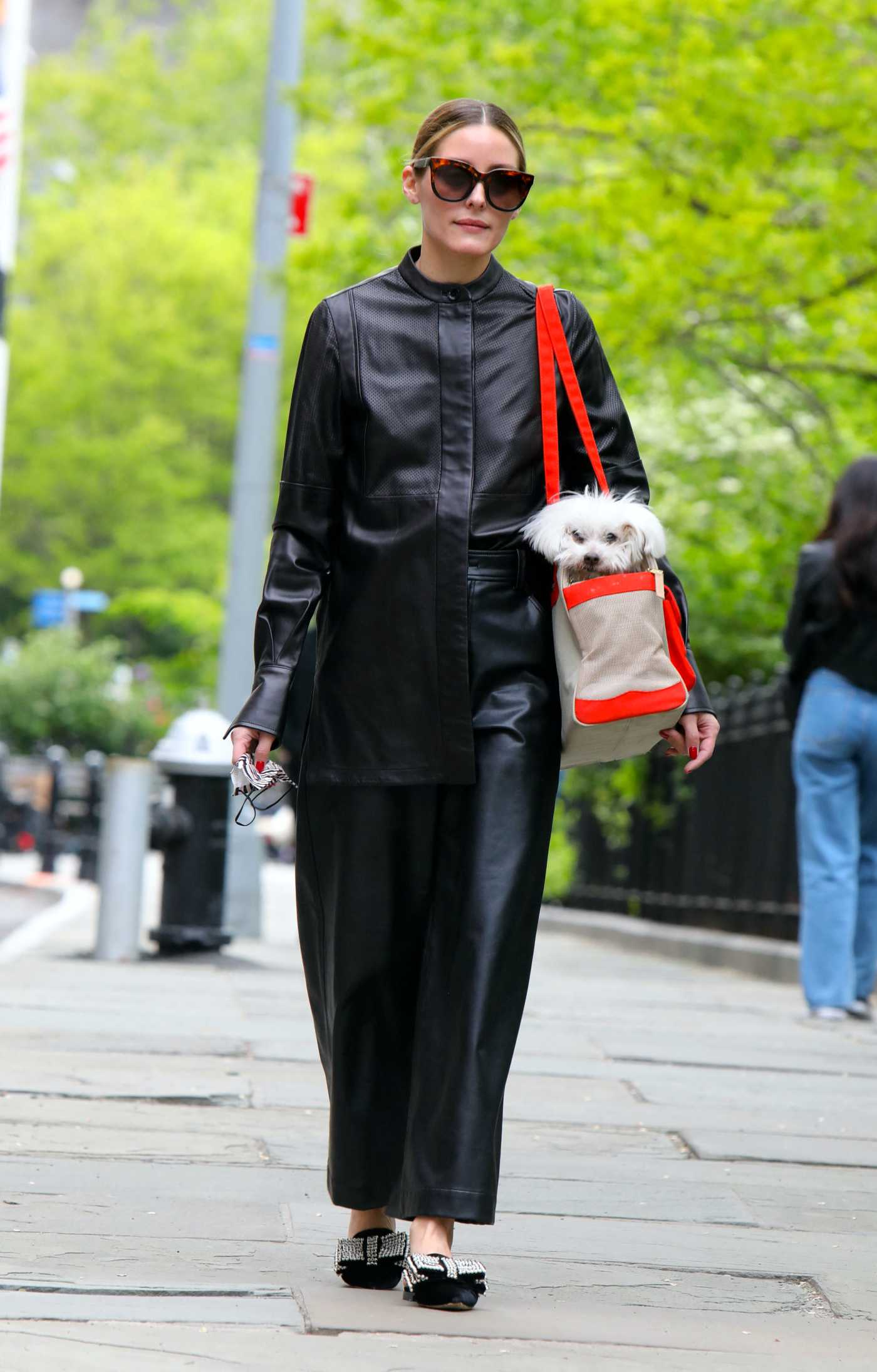 Olivia Palermo in a Black Leather Outfit Was Seen Out at the Park in Brooklyn, NYC 05/07/2021