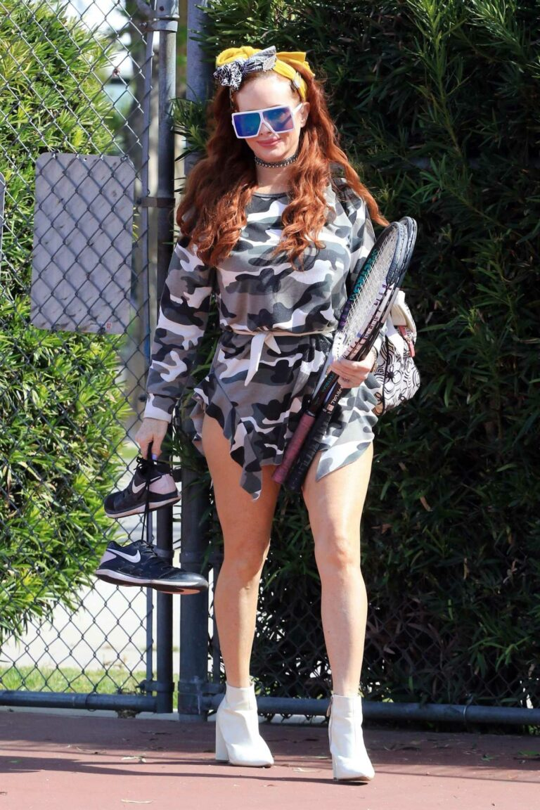 Phoebe Price in a Grey Camo Dress