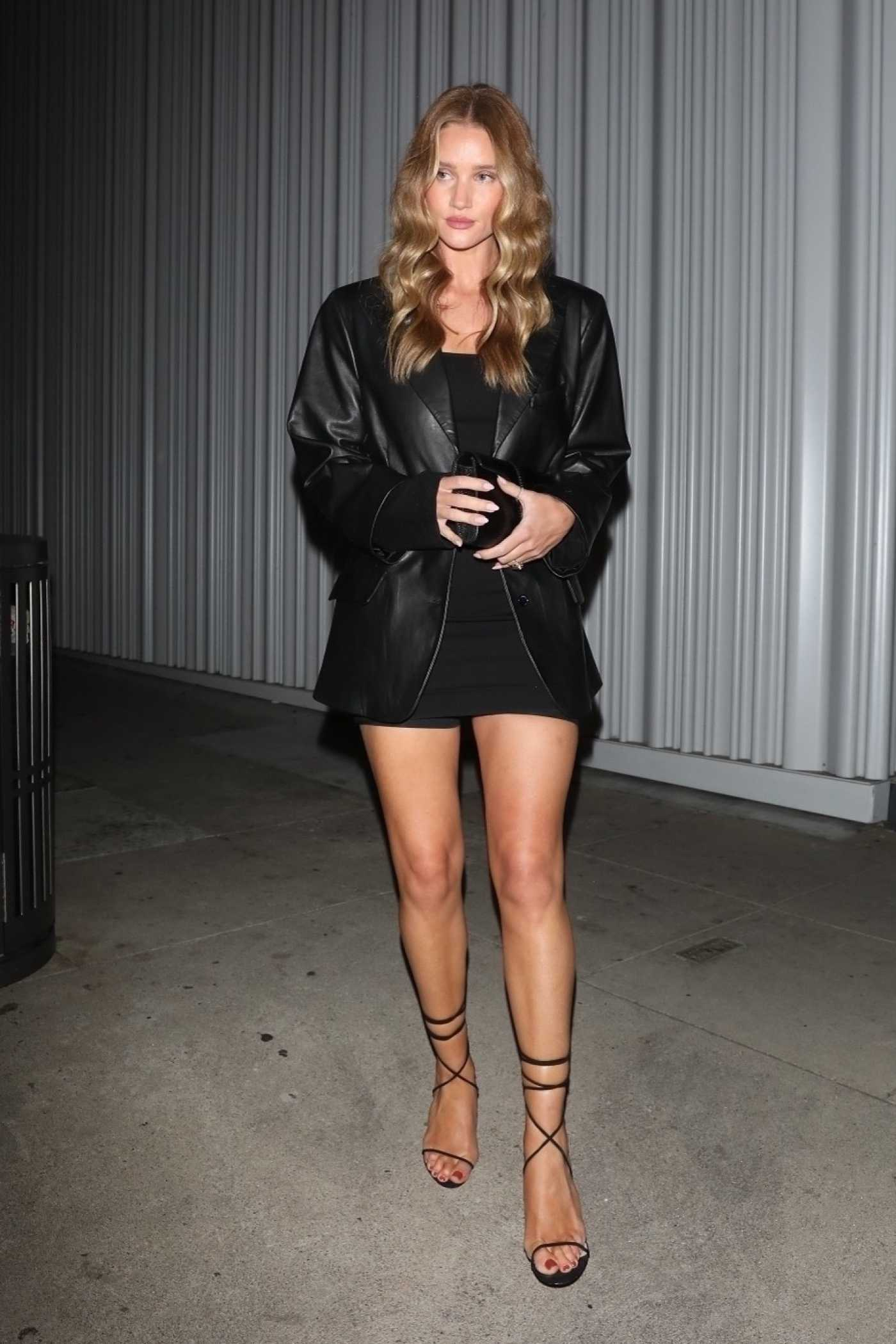 Rosie Huntington-Whiteley in a Black Leather Blazer Exits a Birthday Celebration at Mr Chow in Los Angeles 05/29/2021
