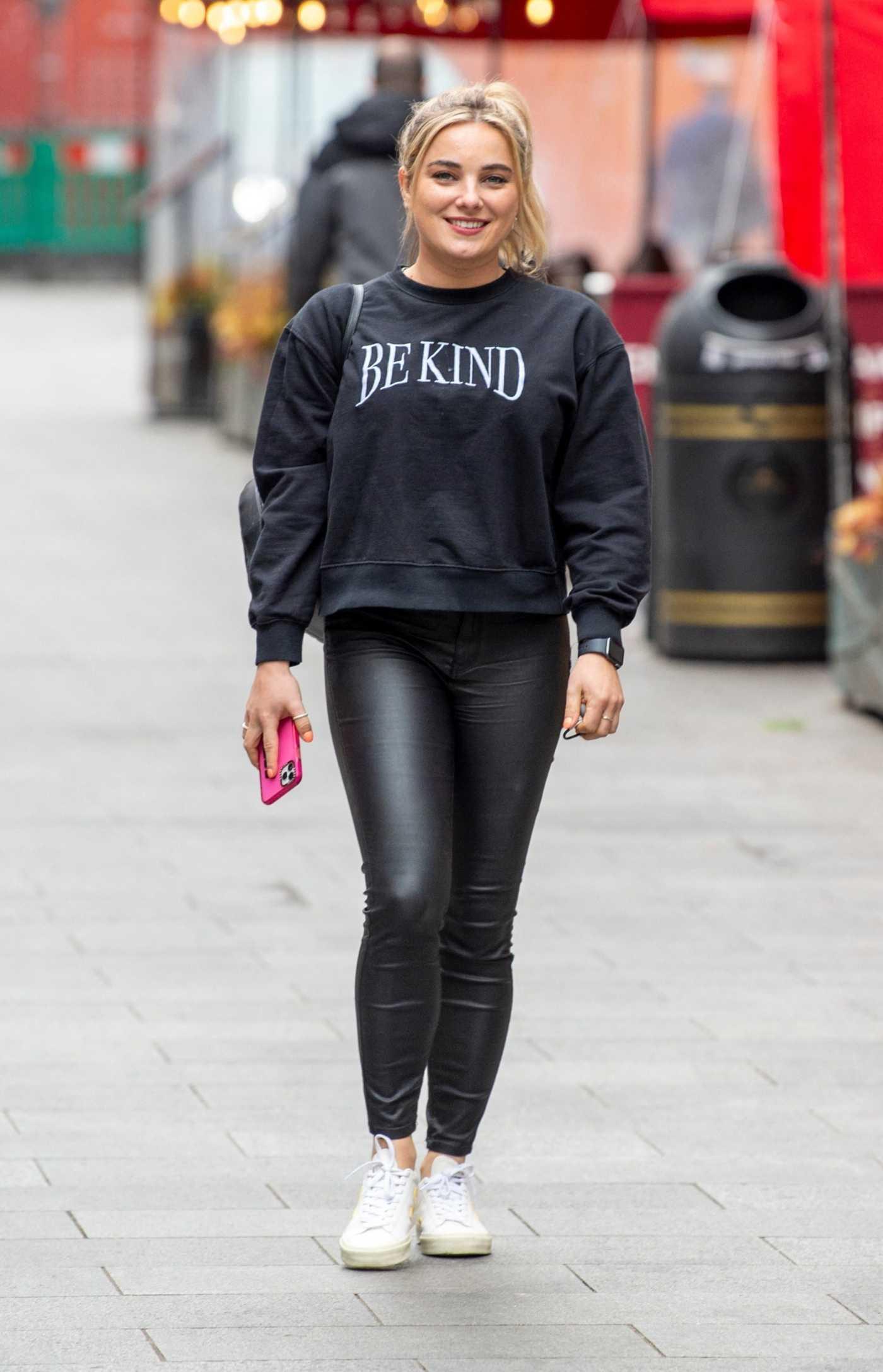 Sian Welby in a Black Sweatshirt Leaves the Global Studios in London 05/14/2021