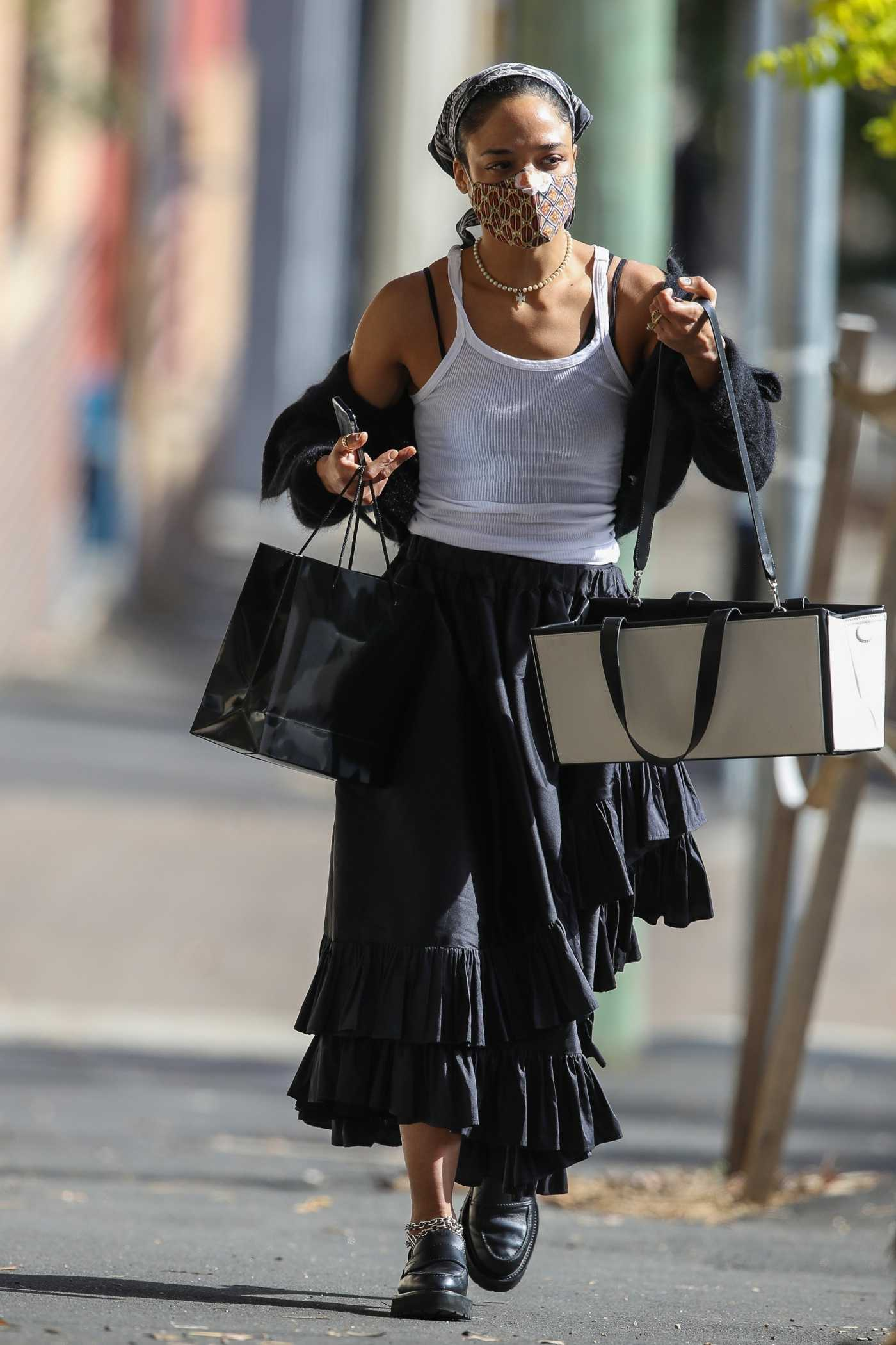 Tessa Thompson in a White Tank Top Goes Shopping in Sydney 05/11/2021