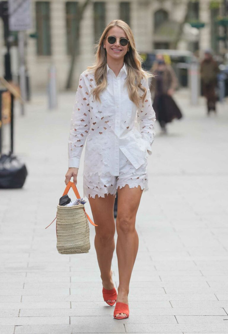 Vogue Williams in a White Summer Suit