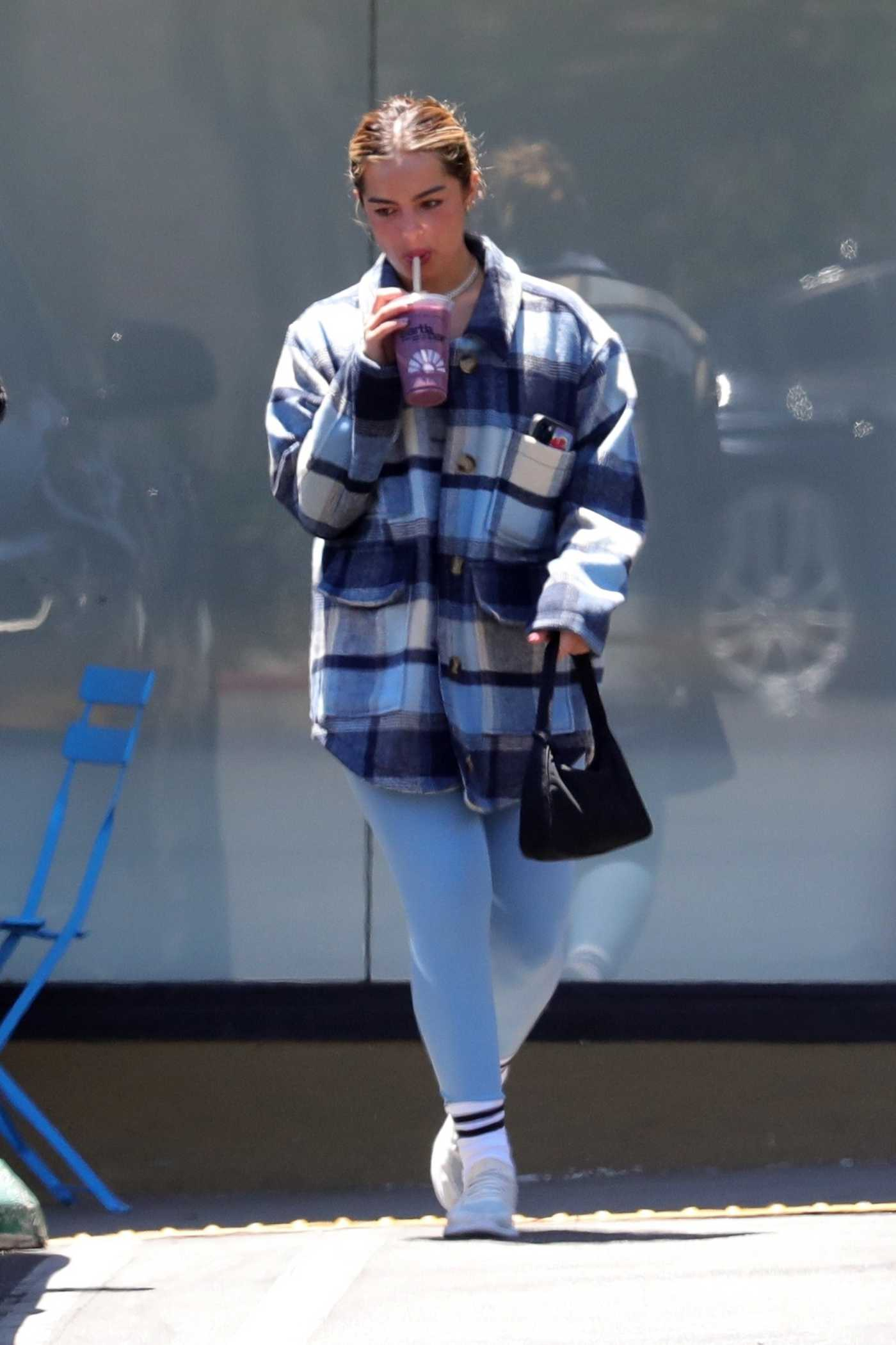 Addison Rae in a Plaid Jacket Leaves Her Pilates Workout in West Hollywood 06/25/2021
