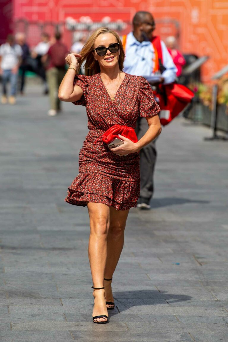 Amanda Holden in a in a Red Floral Mini Dress