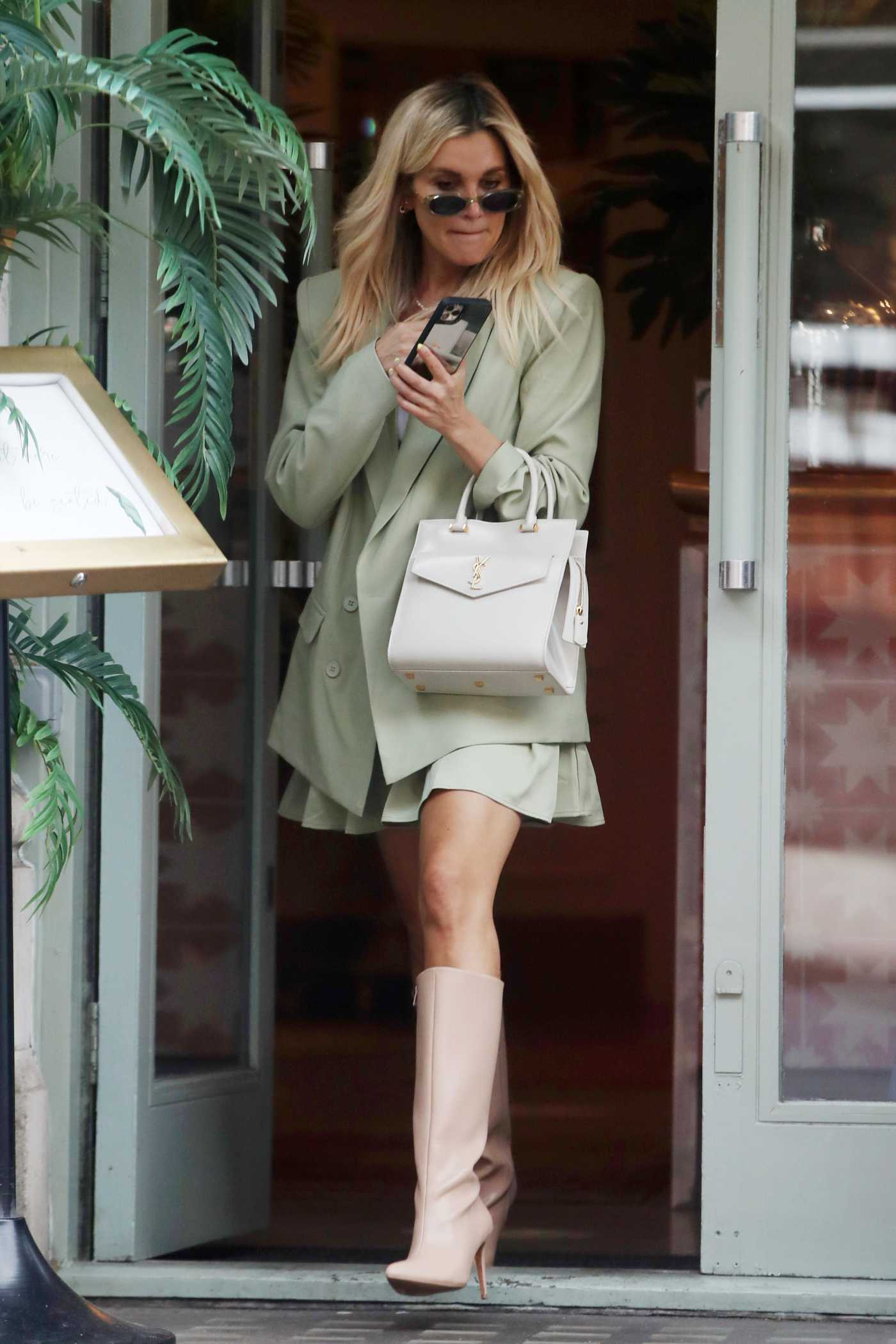 Ashley Roberts in an Olive Suit Leaves Lunch in Chelsea, London 06/24/2021