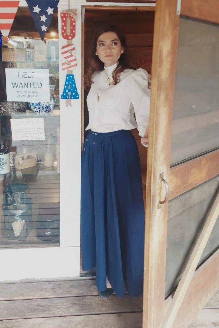 Blanca Blanco in a Blue Skirt