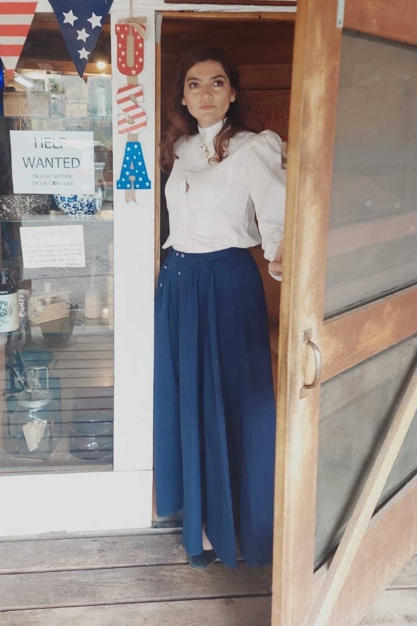 Blanca Blanco in a Blue Skirt Does a Western Themed Set in Montana 06/07/2021