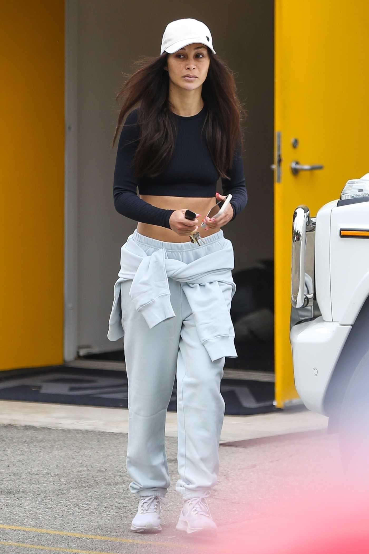 Cara Santana in a White Cap Arrives at the Gym in Los Angeles 06/07/2021
