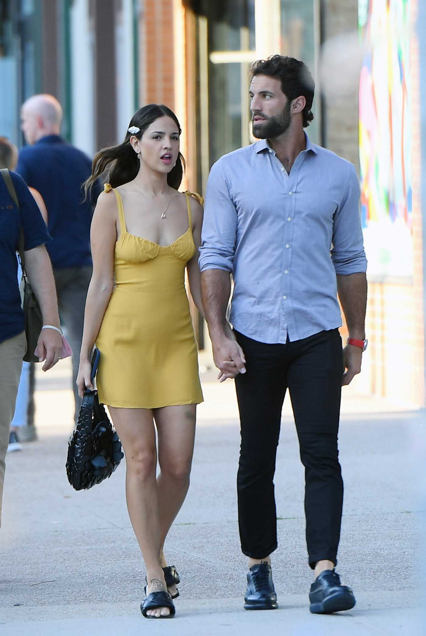 Eiza Gonzalez in a Yellow Mini Dress Was Seen Out in New York 06/18/2021