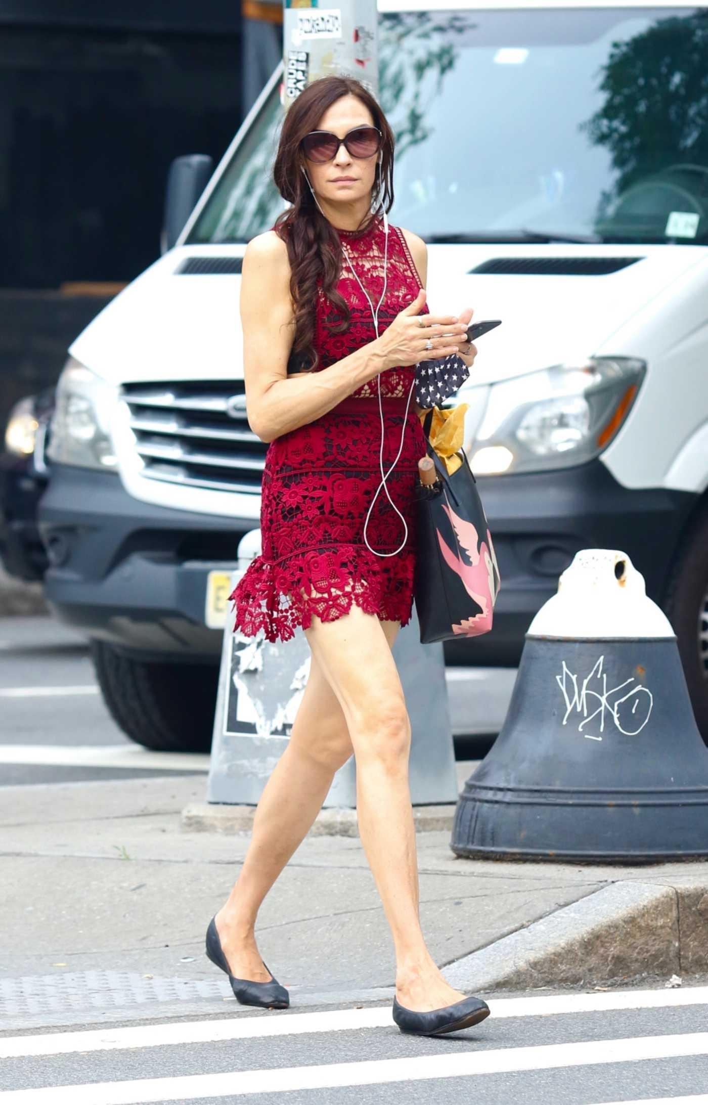 Famke Janssen in a Red Mini Dress Was Seen Out in New York 06/07/2021