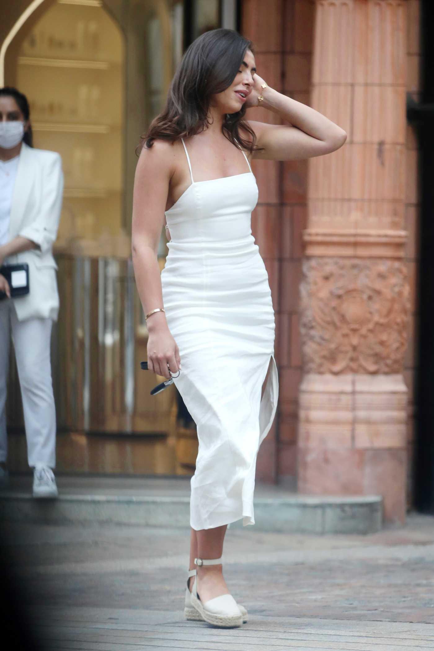 Francesca Allen in a White Dress Has Lunch in Mayfair, London 06/15/2021