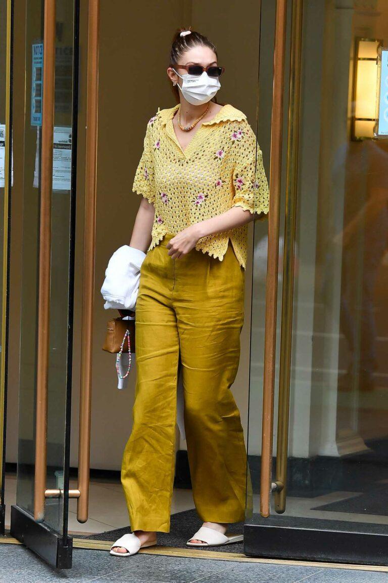 Gigi Hadid in a Yellow Blouse