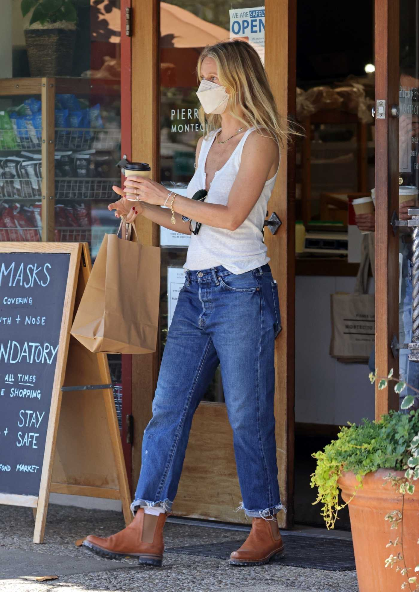 Gwyneth Paltrow in a White Top Hits Pierre Lafond in Montecito 06/08/2021