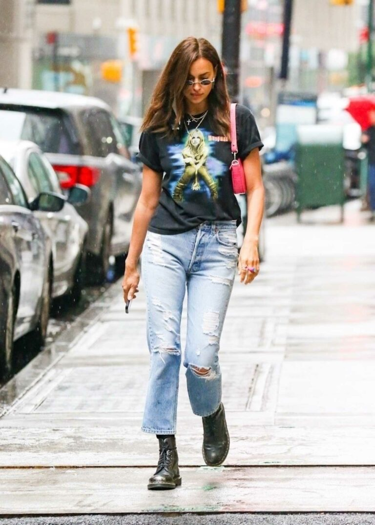 Irina Shayk in a Blue Ripped Jeans