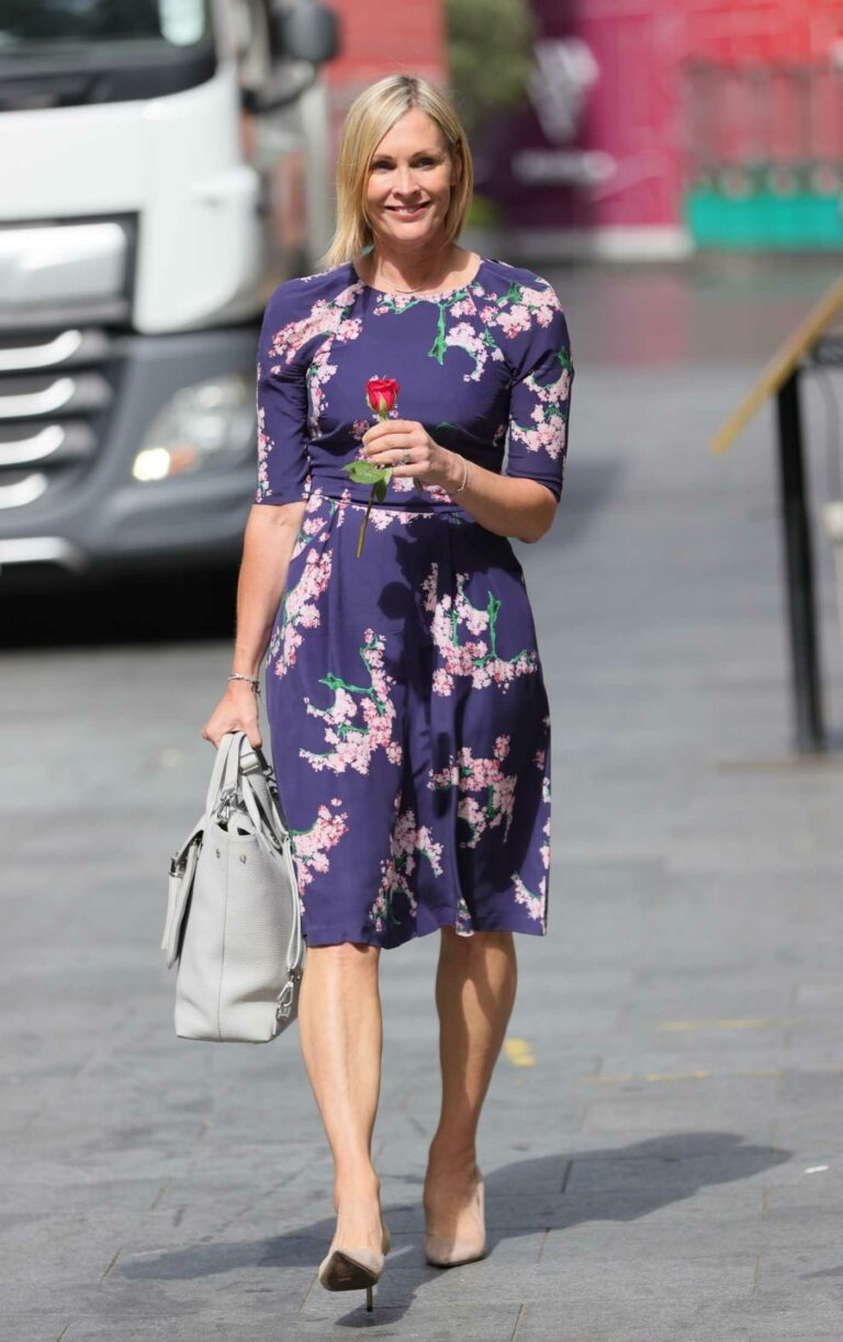 Jenni Falconer in a Blue Floral Dress