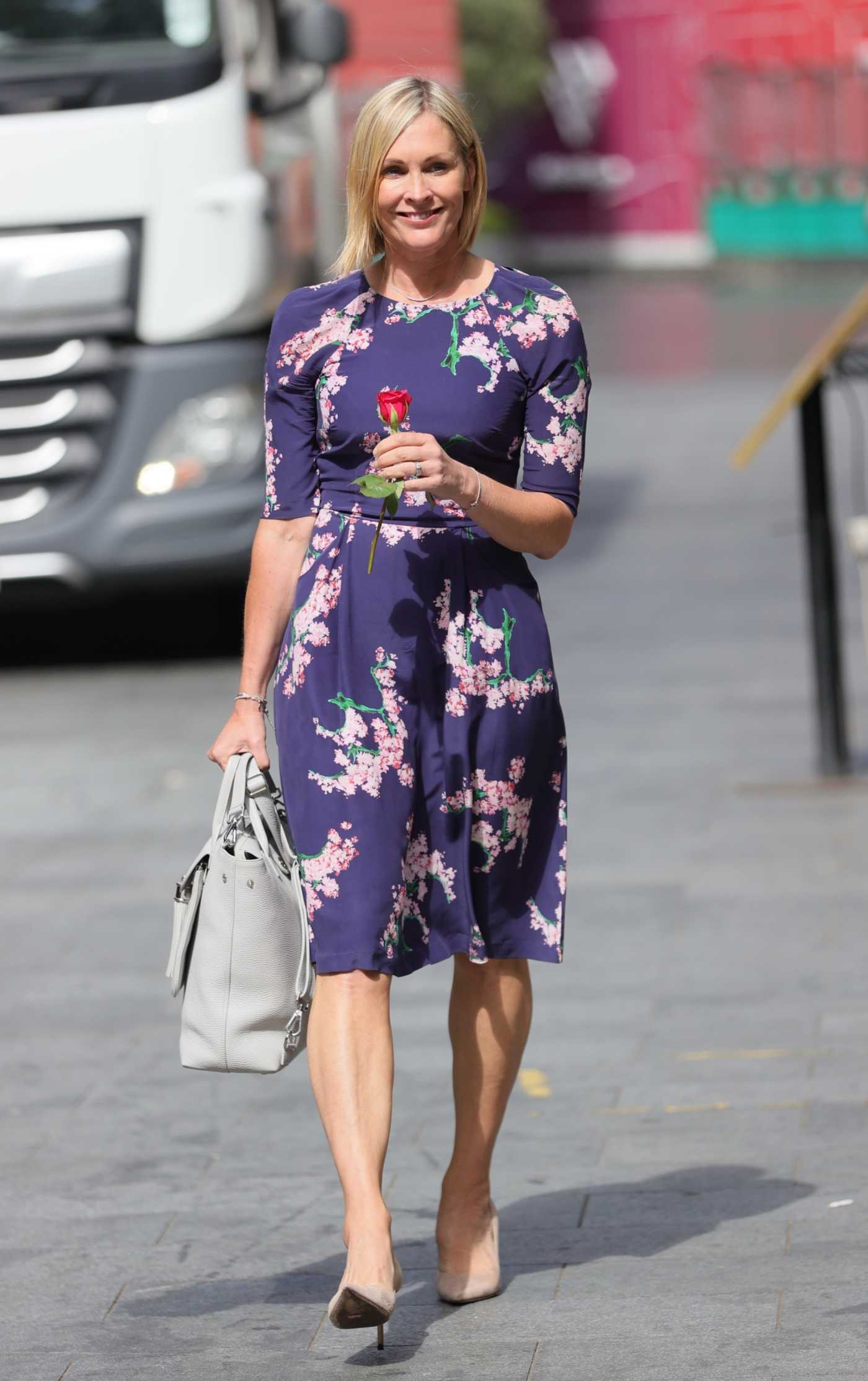 Jenni Falconer in a Blue Floral Dress Leaves the Smooth Radio in London 06/07/2021