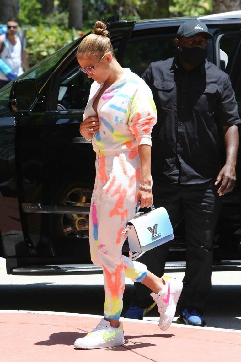 Jennifer Lopez in a Tie-Dye Sweatsuit