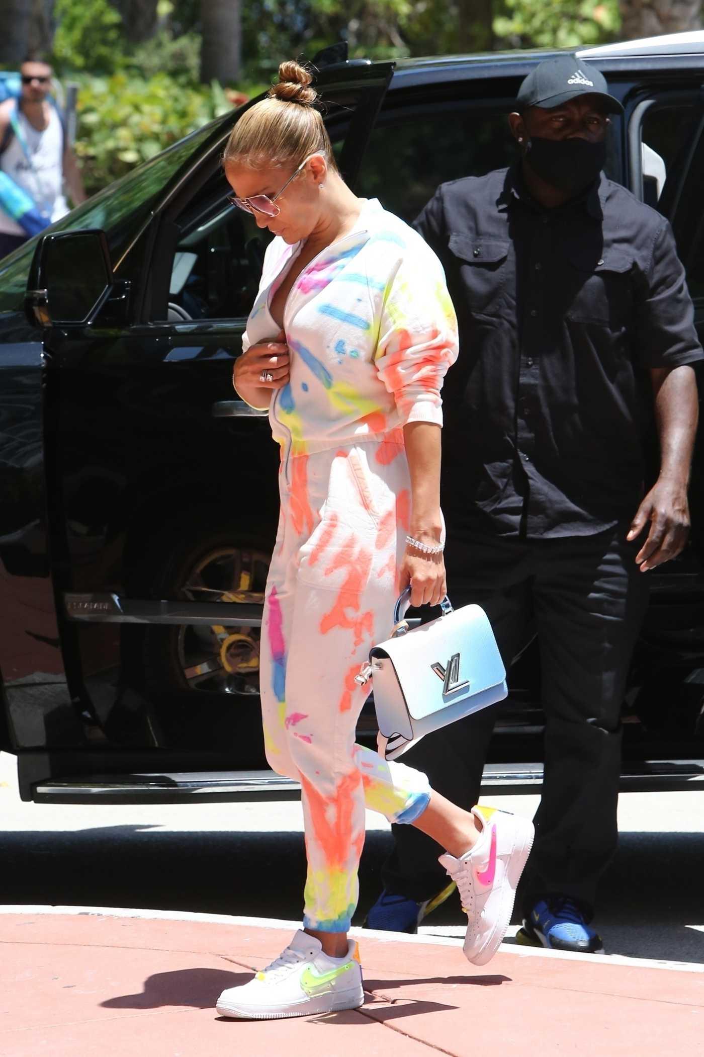 Jennifer Lopez in a Tie-Dye Sweatsuit Was Seen Out in Miami 06/09/2021