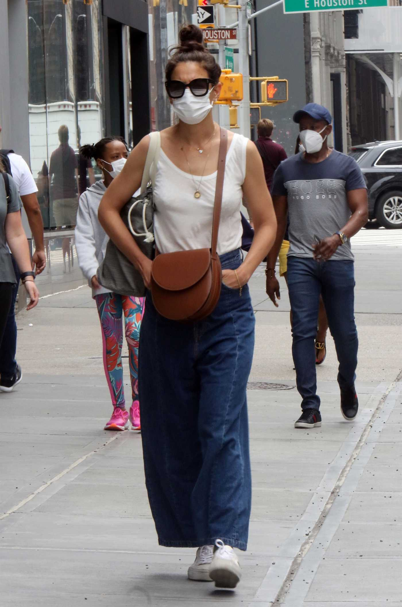 Katie Holmes in a White Tank Top Was Seen Out in Soho, New York 06/14/2021