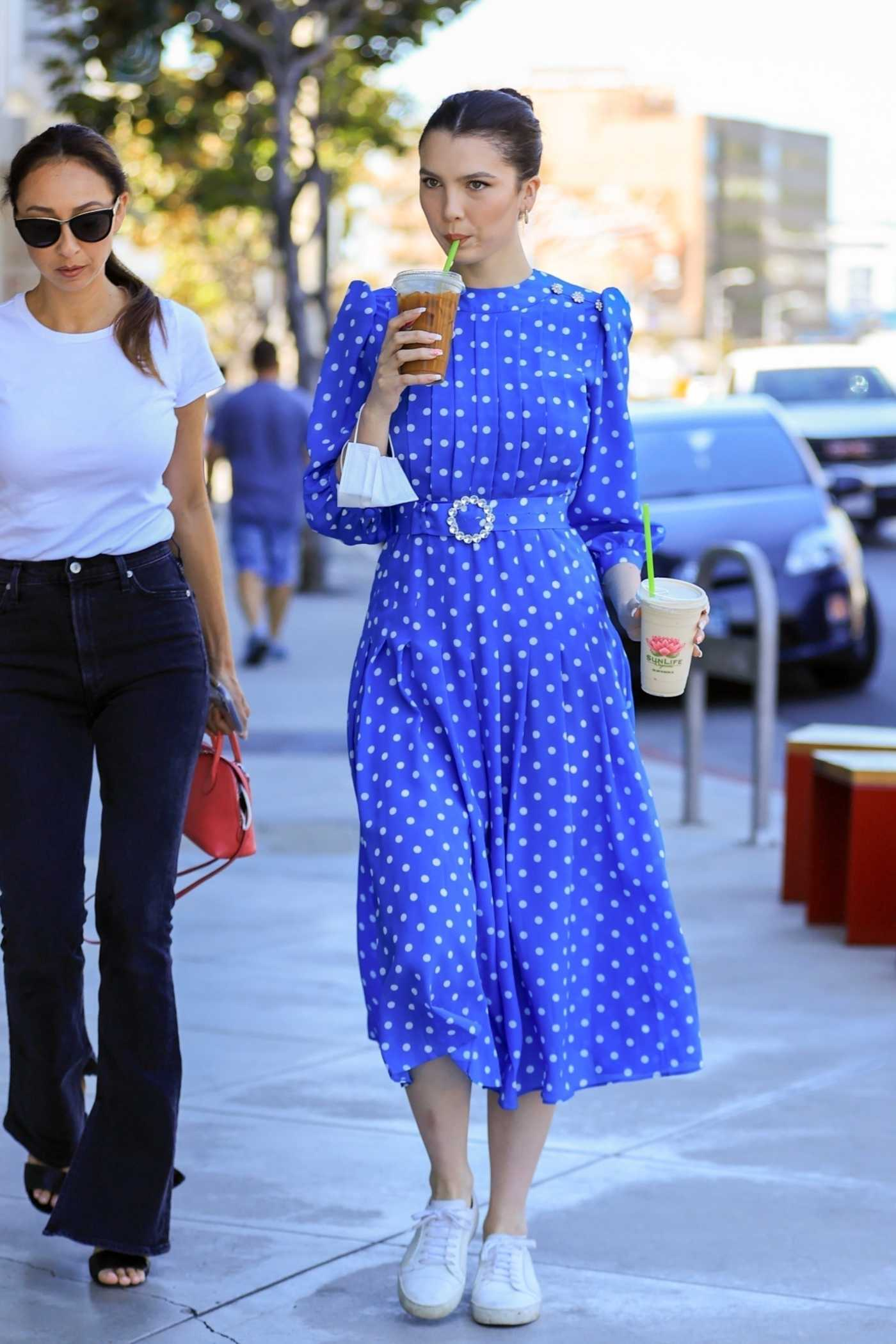 Maya Henry in a Blue Polka Dot Dress Was Seen Out with Her Mother in West Hollywood 06/15/2021