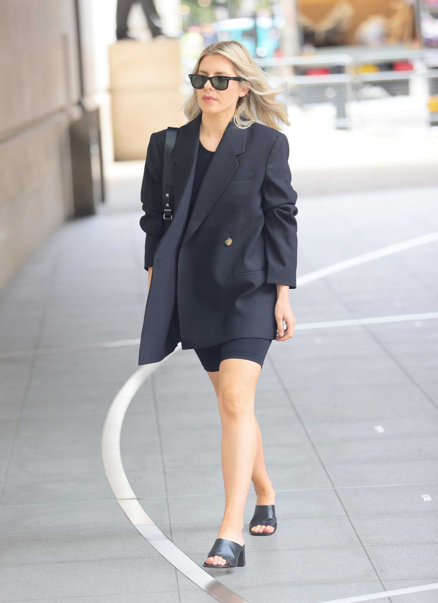 Mollie King in a Black Blazer Arrives at the BBC Radio One in London 06/11/2021