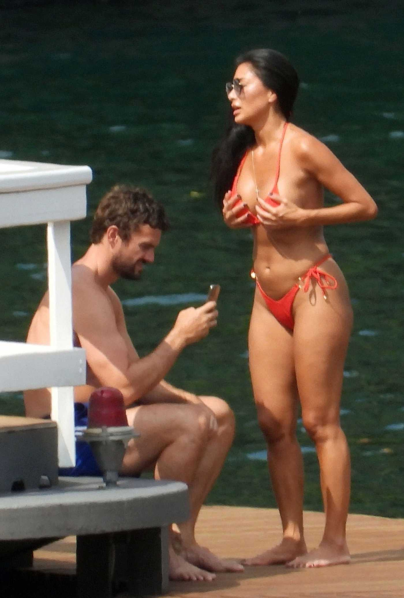 Nicole Scherzinger in a Red Bikini During a Vacation in Italy 06/28/2021