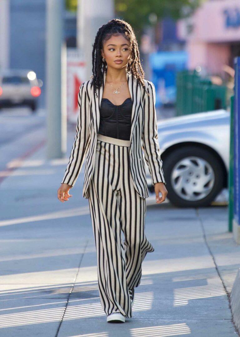 Skai Jackson in a Striped Pantsuit