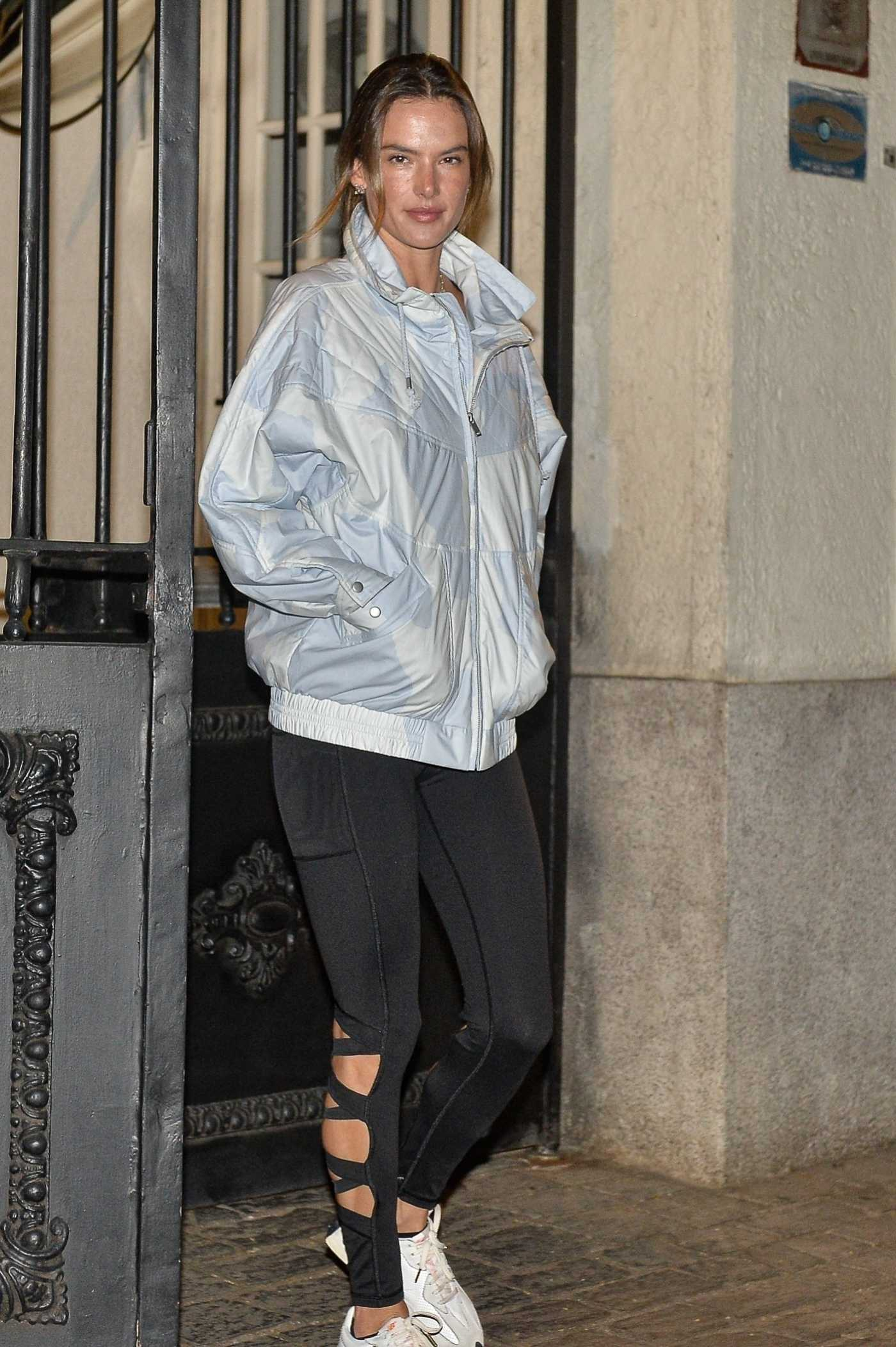 Alessandra Ambrosio in a Grey Jacket Leaves a Gym in Sao Paulo 07/19/2021