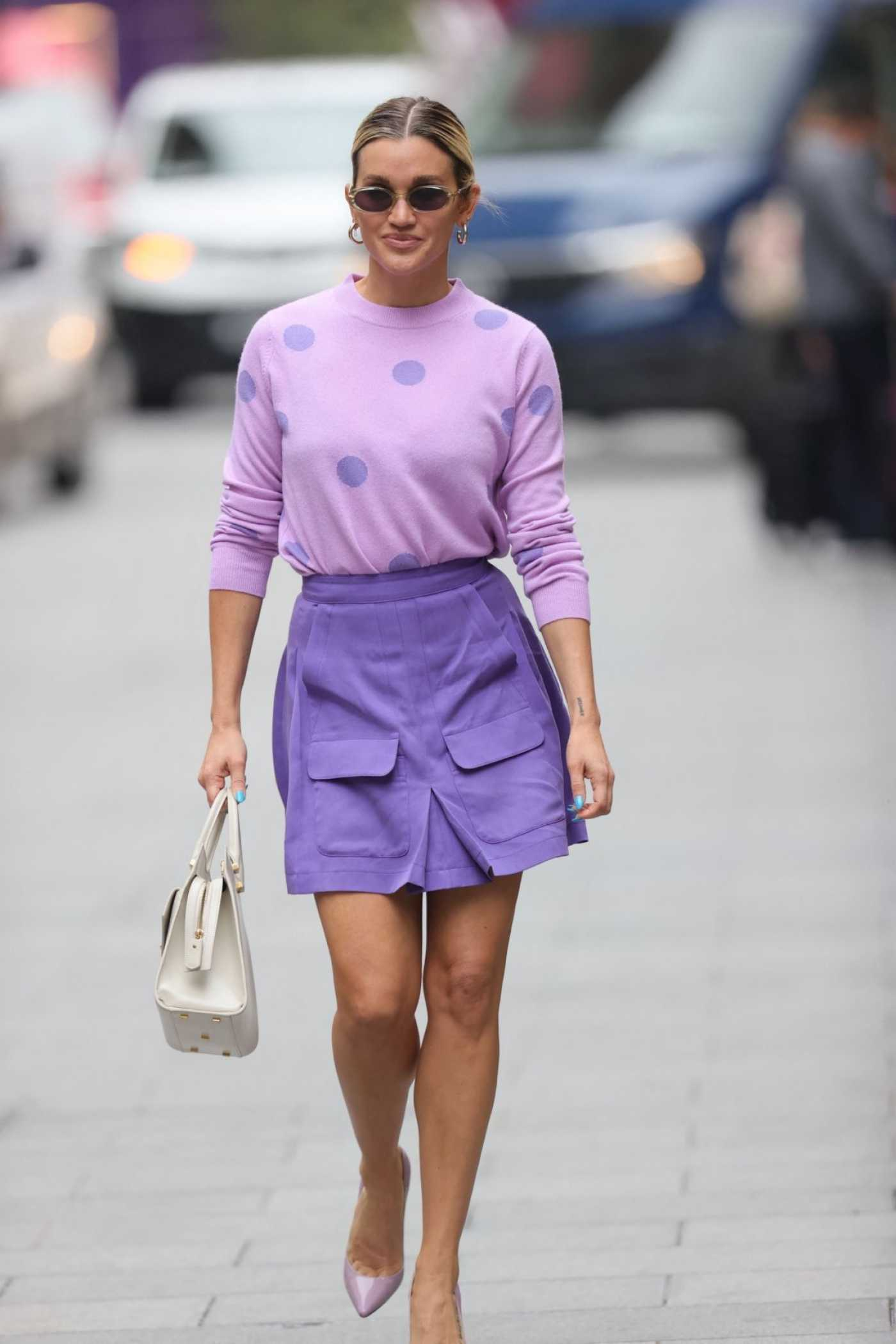 Ashley Roberts in a Purple Outfit Leaves the Heart Radio in London 07/13/2021