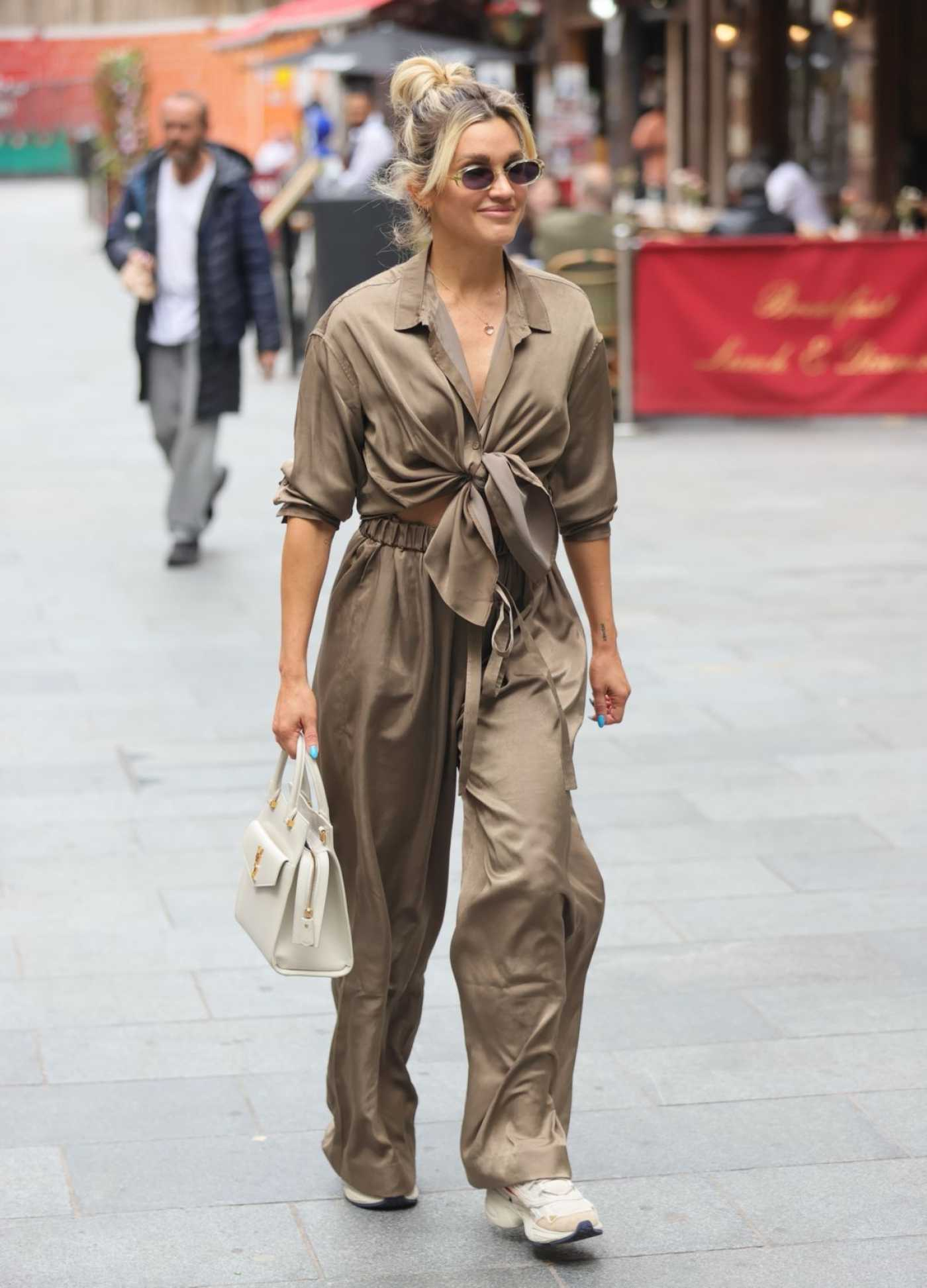 Ashley Roberts in a Tan Suit Leaves the Heart Radio in London 07/15/2021