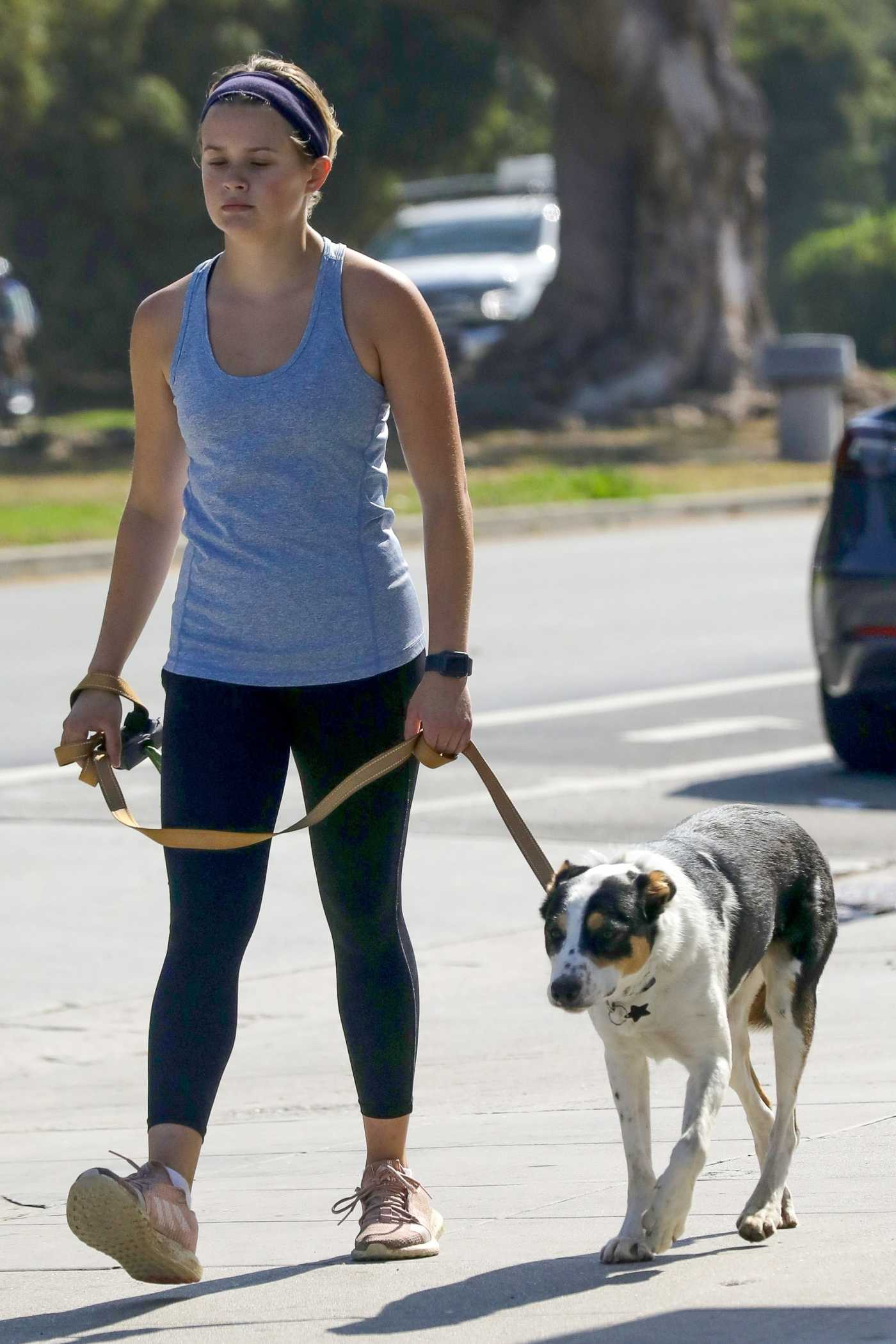 Ava Phillippe in a Grey Tank Top Walks Her Dog Benji in Brentwood 07/21/2021