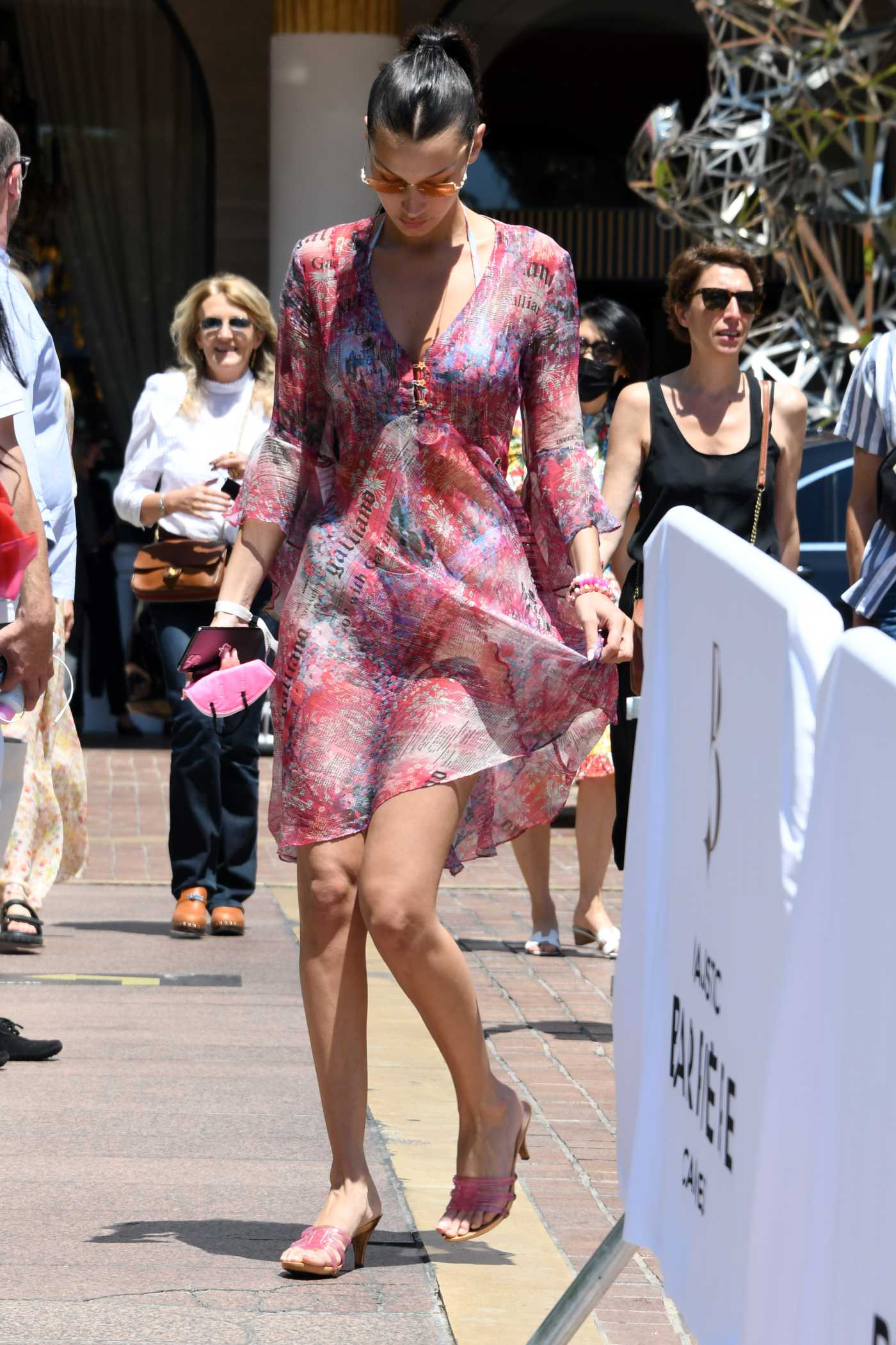 Bella Hadid in a Pink Mini Dress Arrives at Hotel Majestic in Cannes 07/11/2021