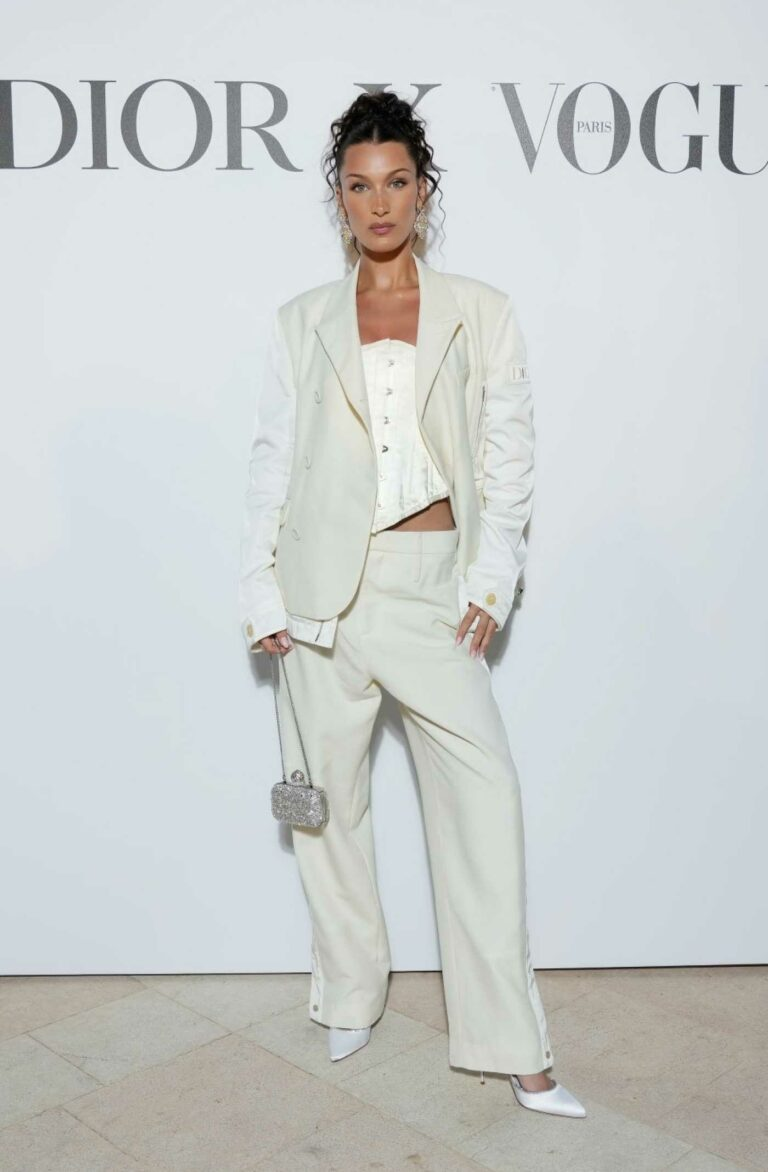 Bella Hadid in a White Suit