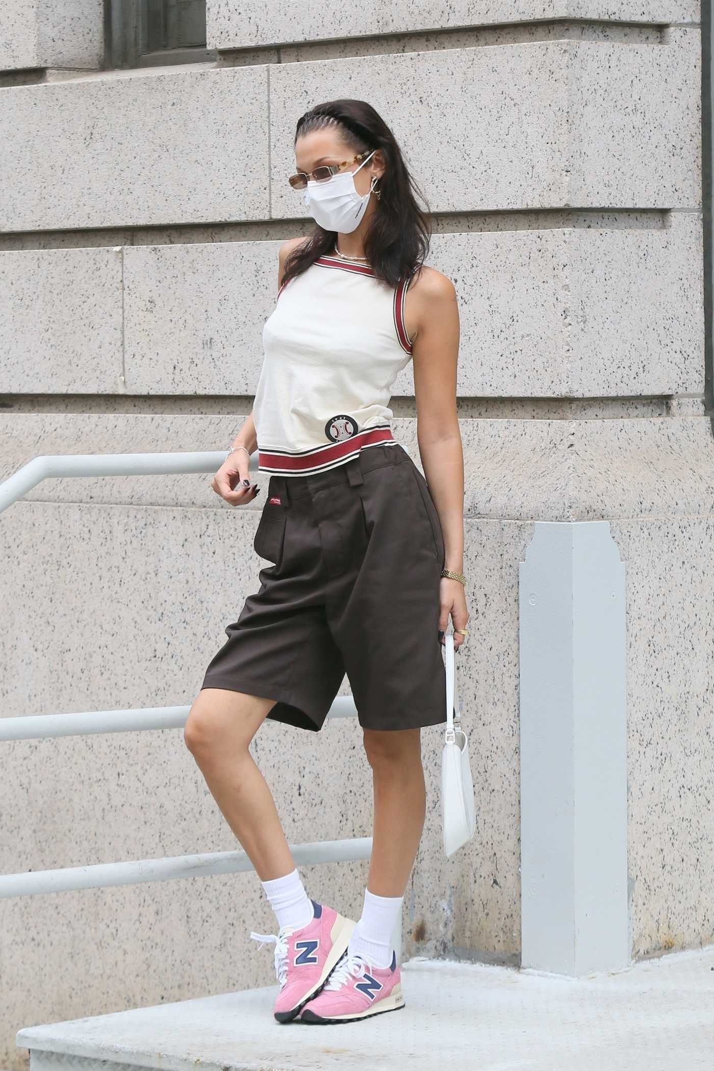 Bella Hadid in a White Top Was Seen Out in Tribeca in New York 07/25/2021