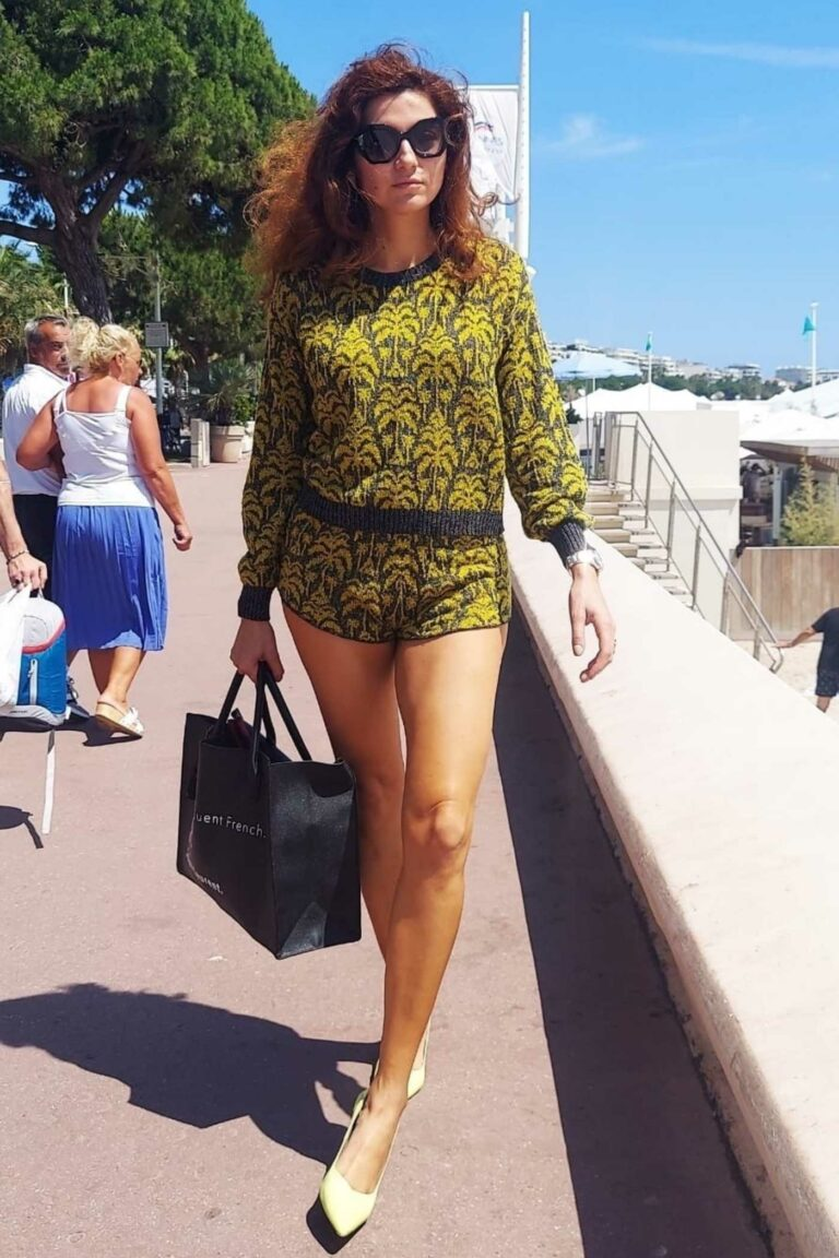 Blanca Blanco in a Green Shorts Suit