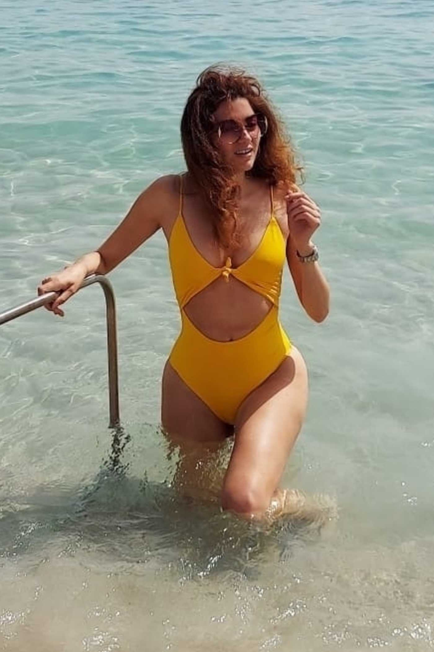 Blanca Blanco in a Yellow Bikini on the Beach in Cannes 07/12/2021