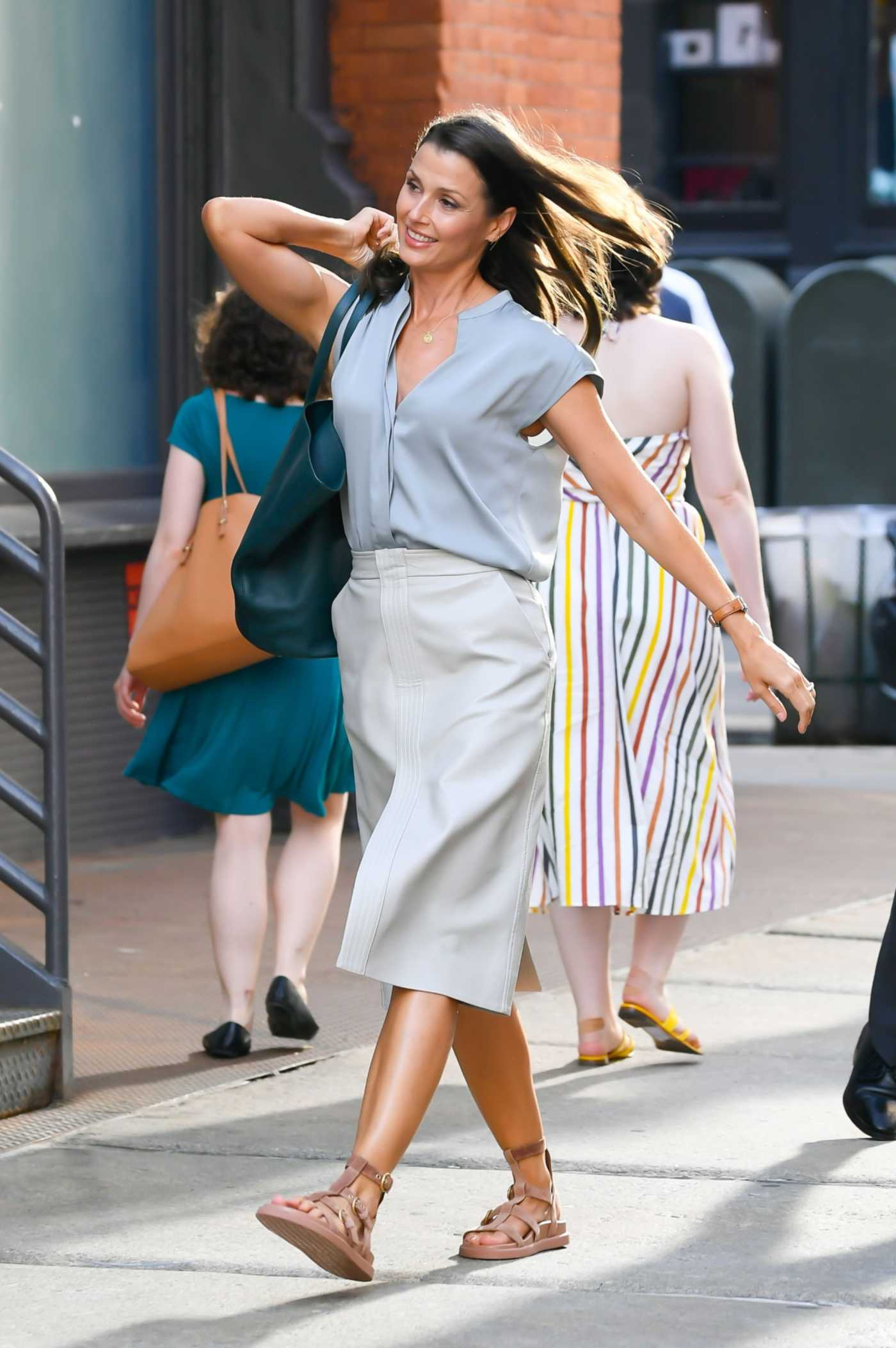Bridget Moynahan in a White Skirt on the Set of And Just Like That in SoHo in New York City 07/19/2021
