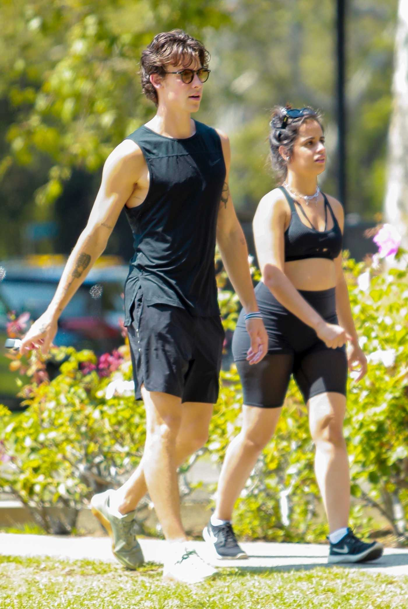 Camila Cabello in a Black Sports Bra Was Seen Out with Shawn Mendes in Beverly Hills 07/18/2021