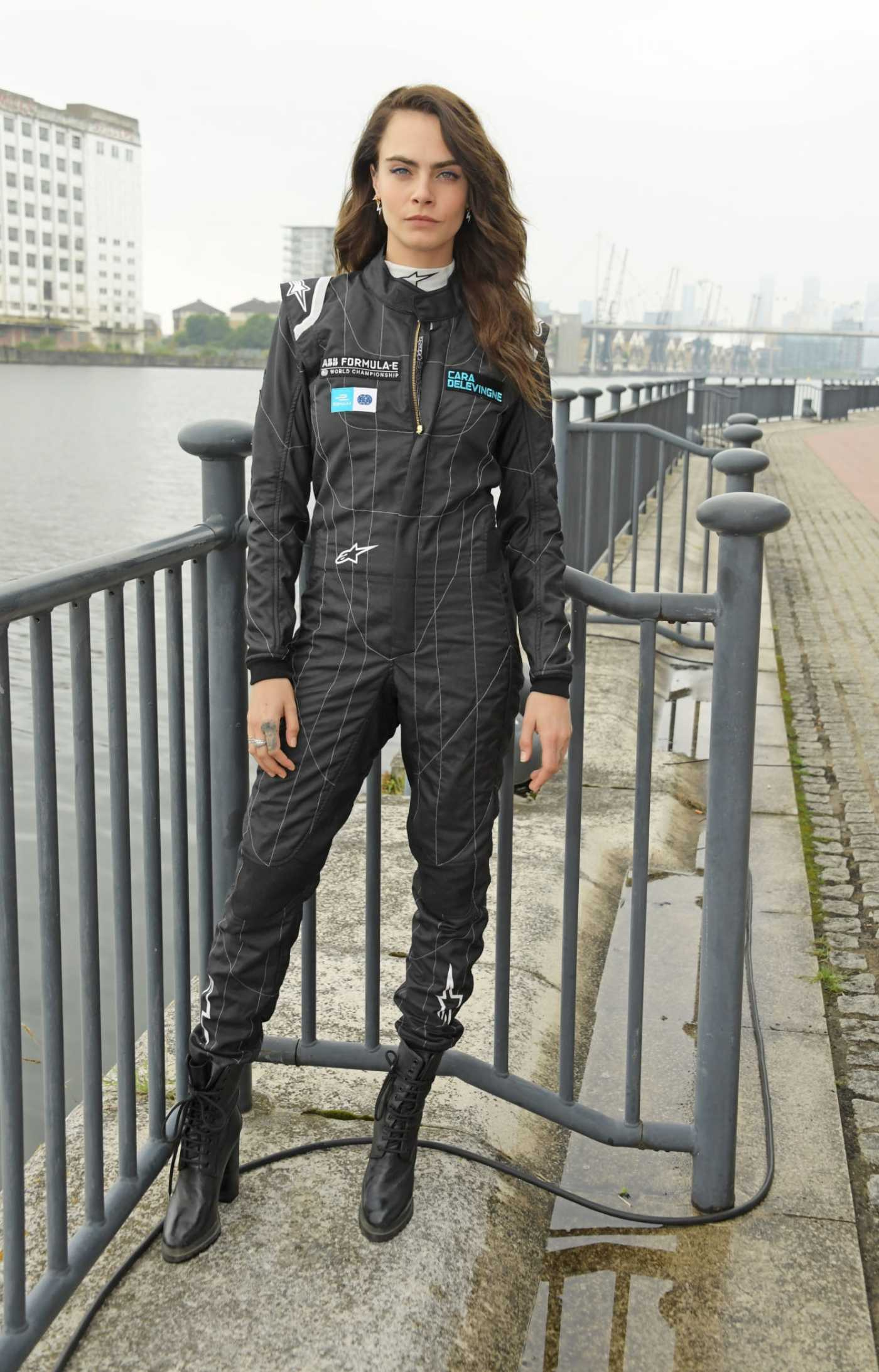 Cara Delevingne in a Black Jumpsuit Attends the ABB FIA Formula E Heineken London E-Prix at ExCel in London 07/24/2021