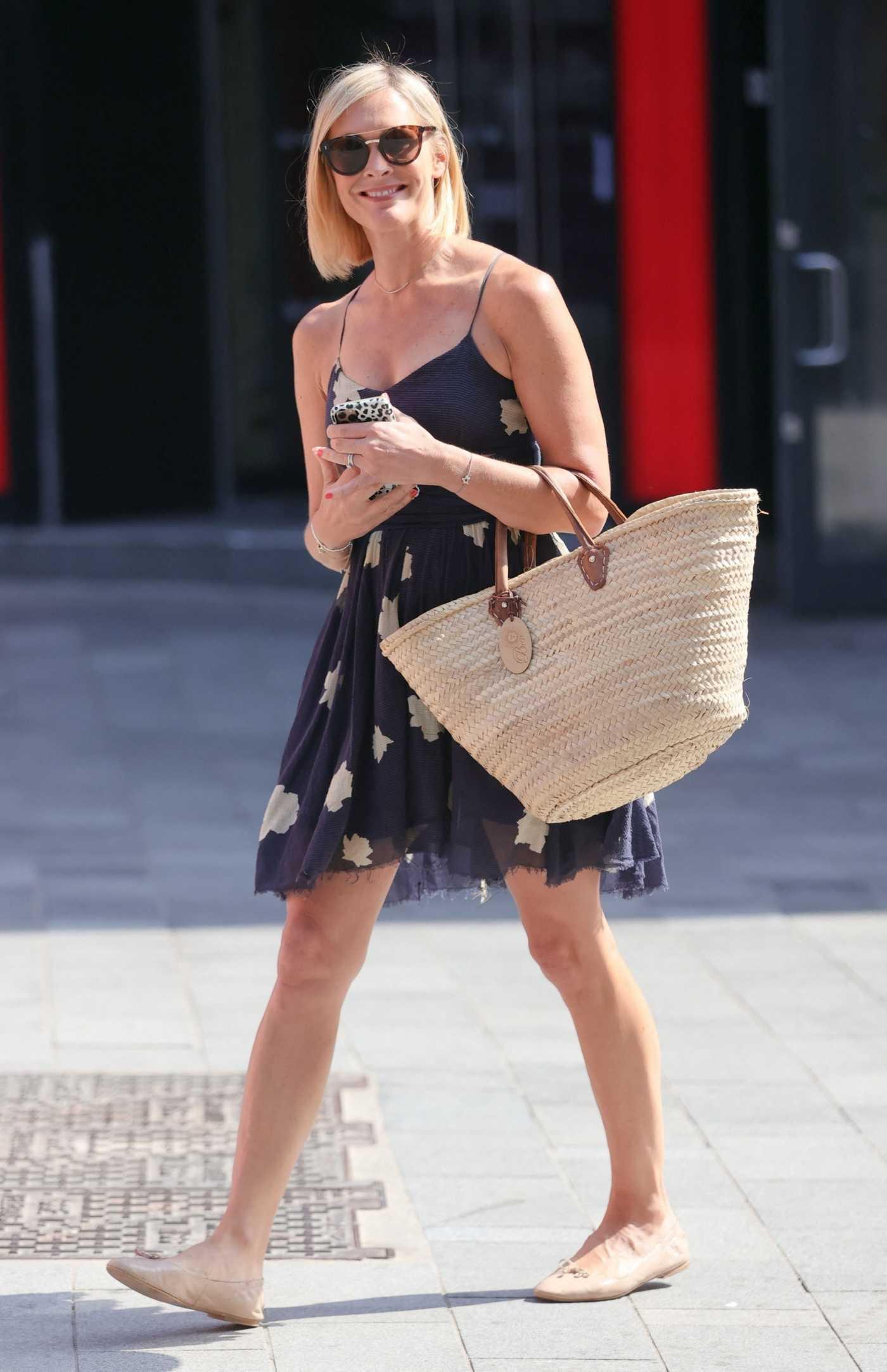 Jenni Falconer in a Black Summer Dress Leaves the Global Studios in London 07/19/2021