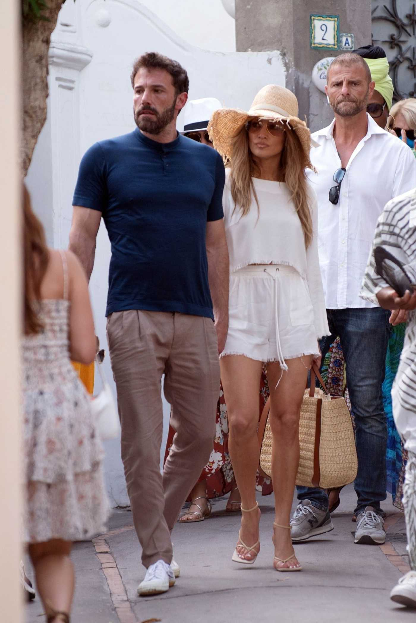 Jennifer Lopez in a White Shorts Was Seen Out with Ben Affleck in Capri, Italy 07/27/2021